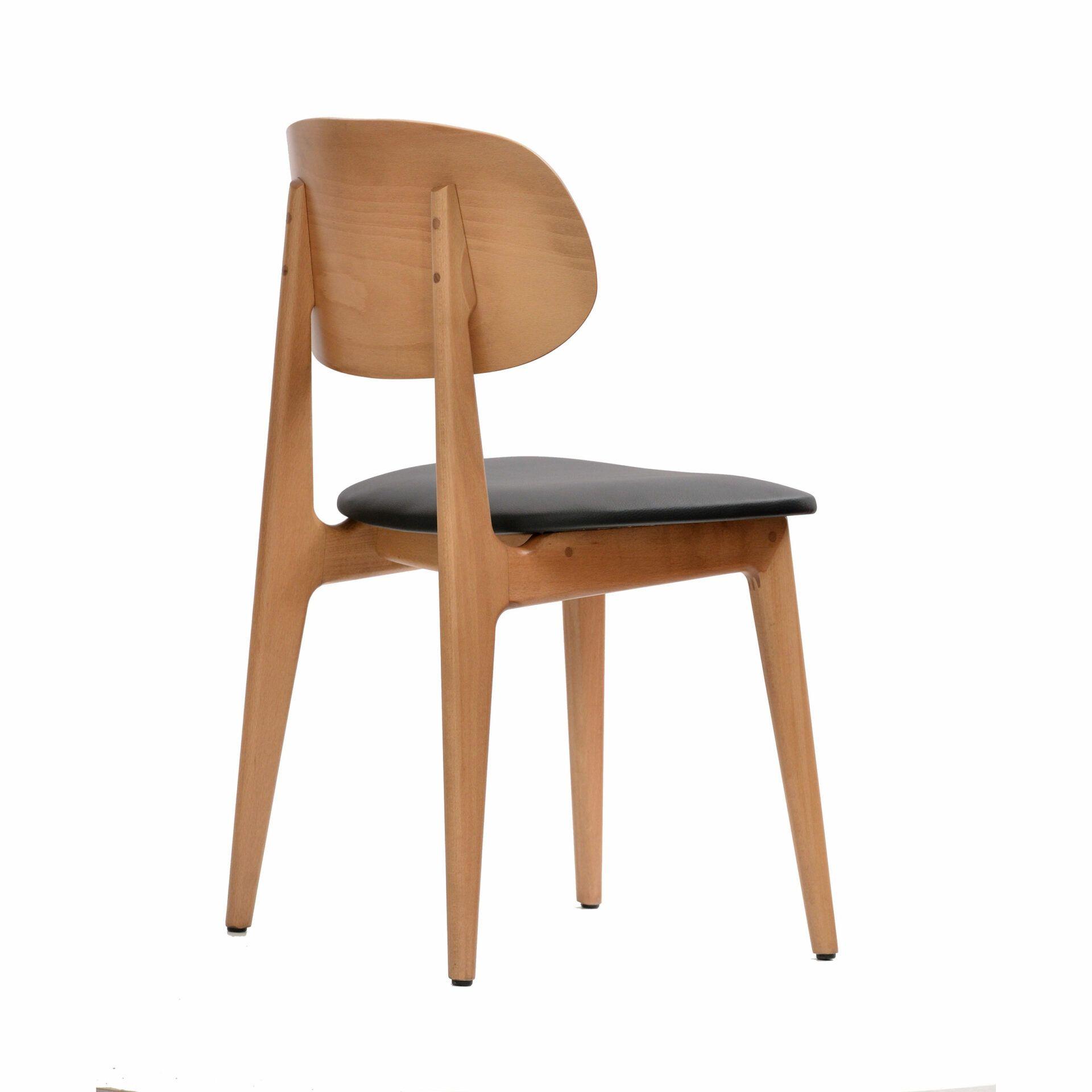 banchair naturalframe blackvinylseat backsideright