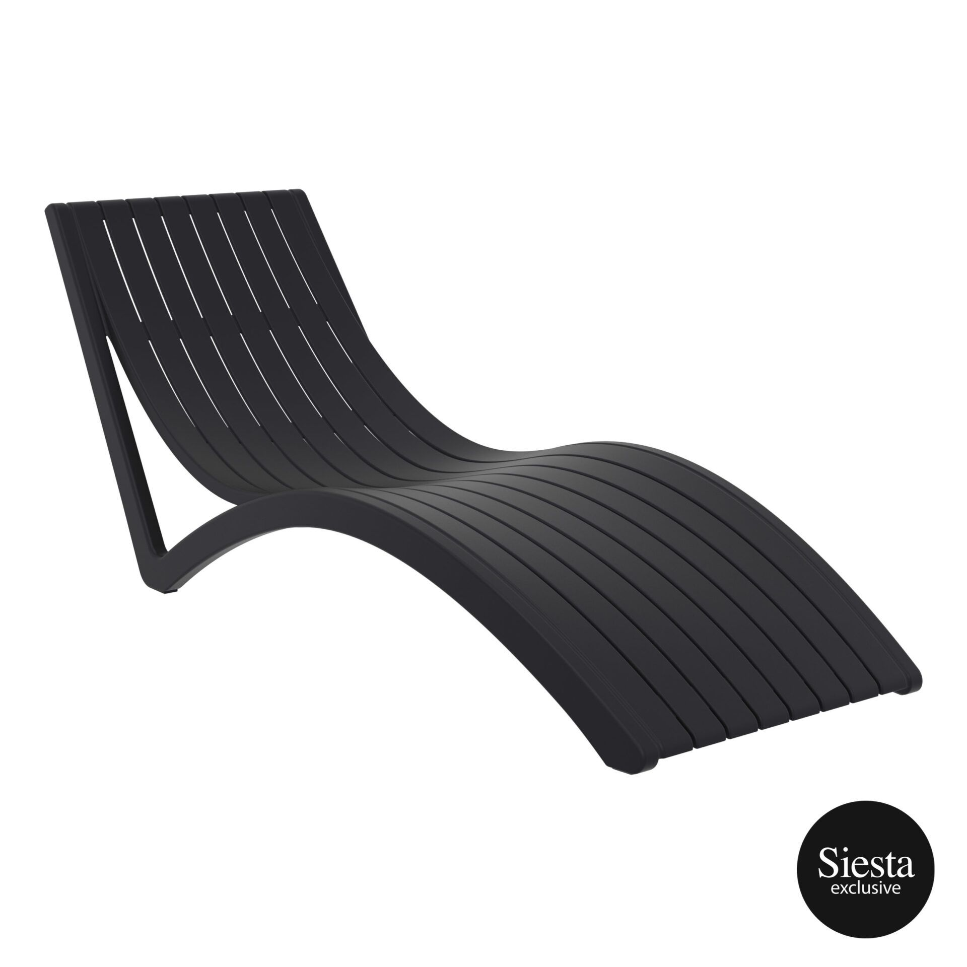 outdoor polypropylene slim sunlounger black front side