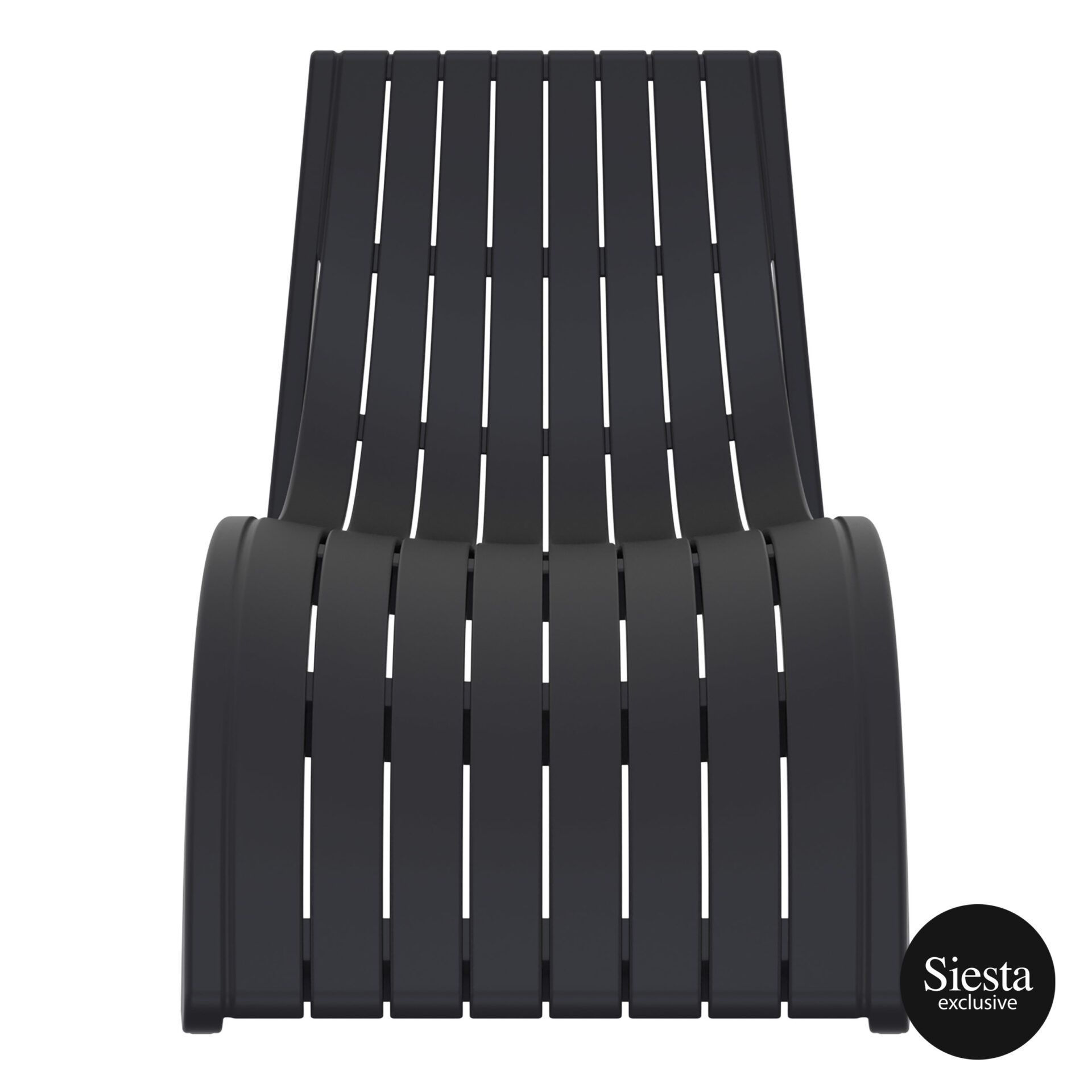 outdoor polypropylene slim sunlounger black front