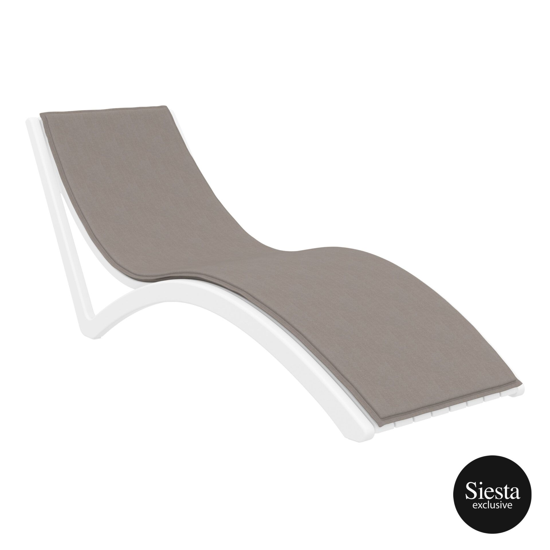 outdoor polypropylene slim sunlounger cushion white brown front side