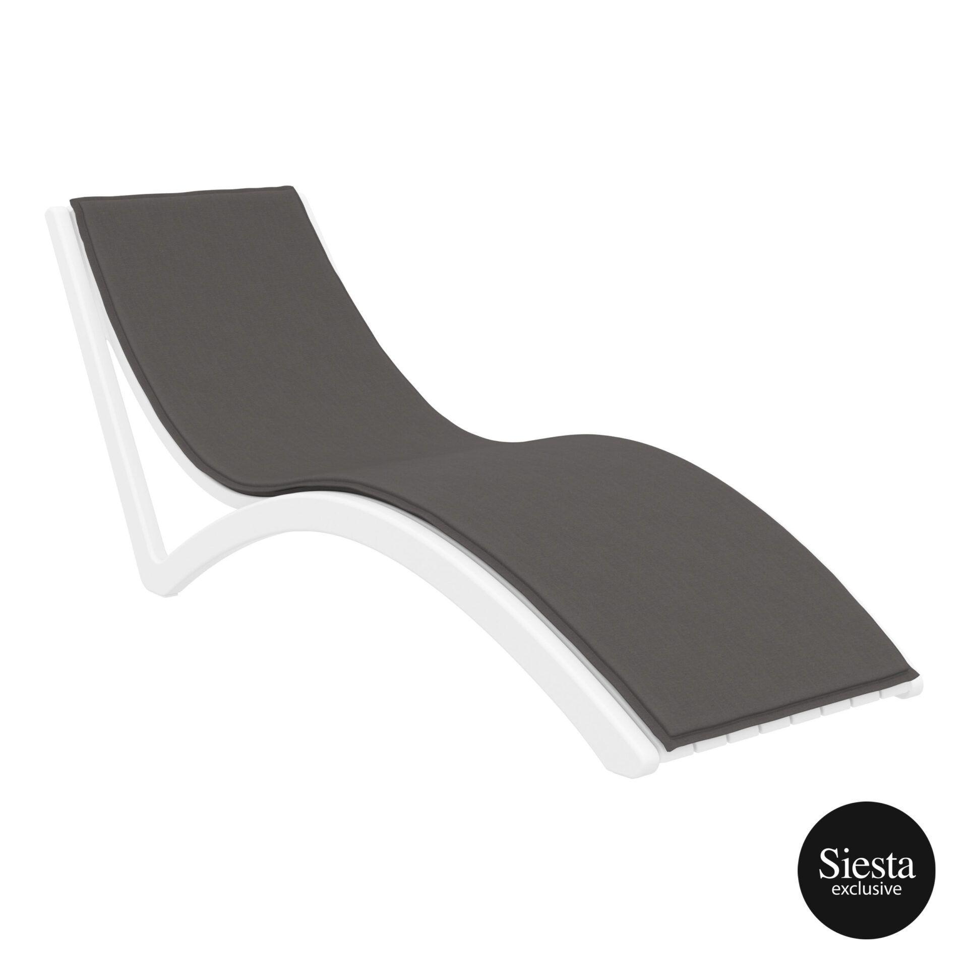 outdoor polypropylene slim sunlounger cushion white darkgrey front side