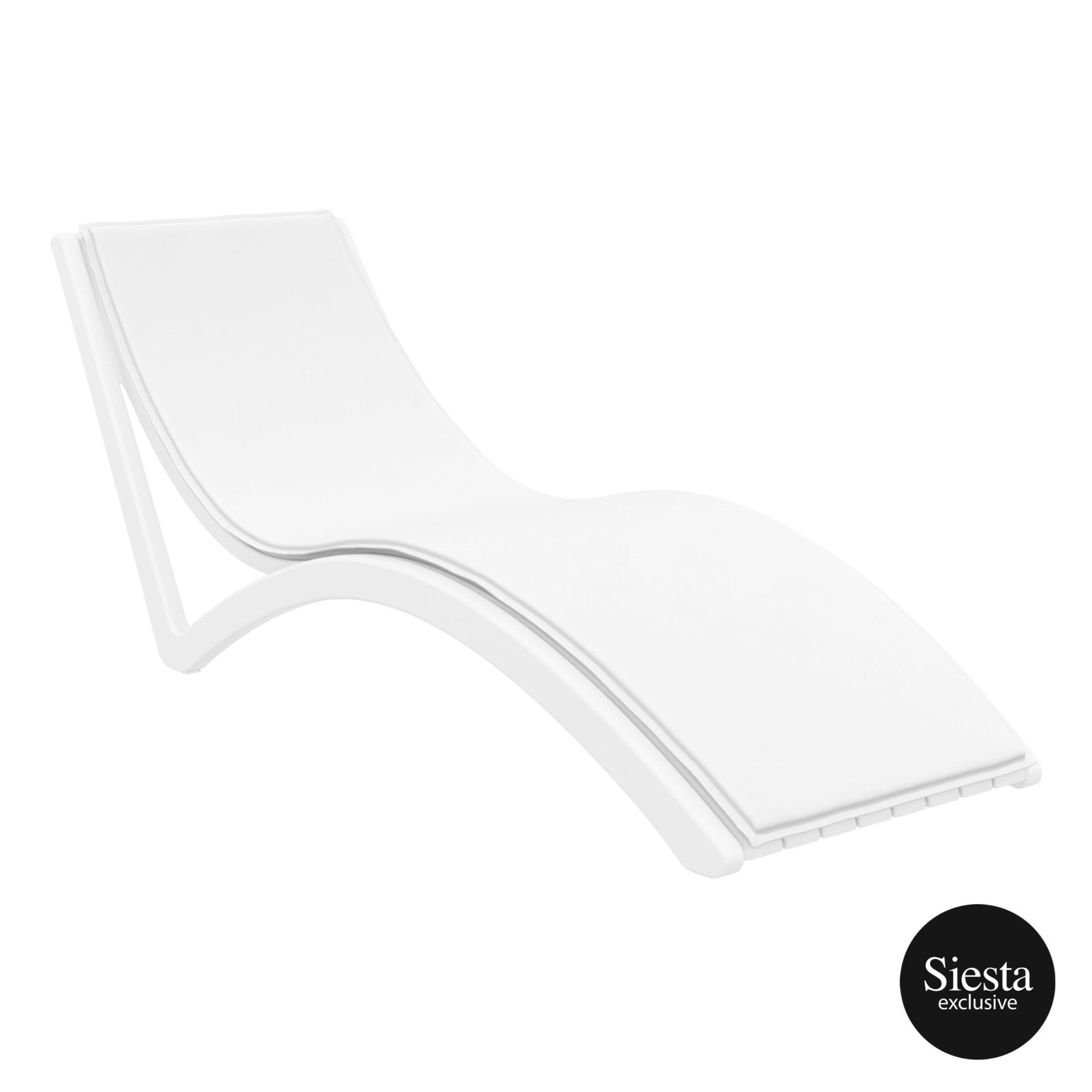outdoor polypropylene slim sunlounger cushion white white front side