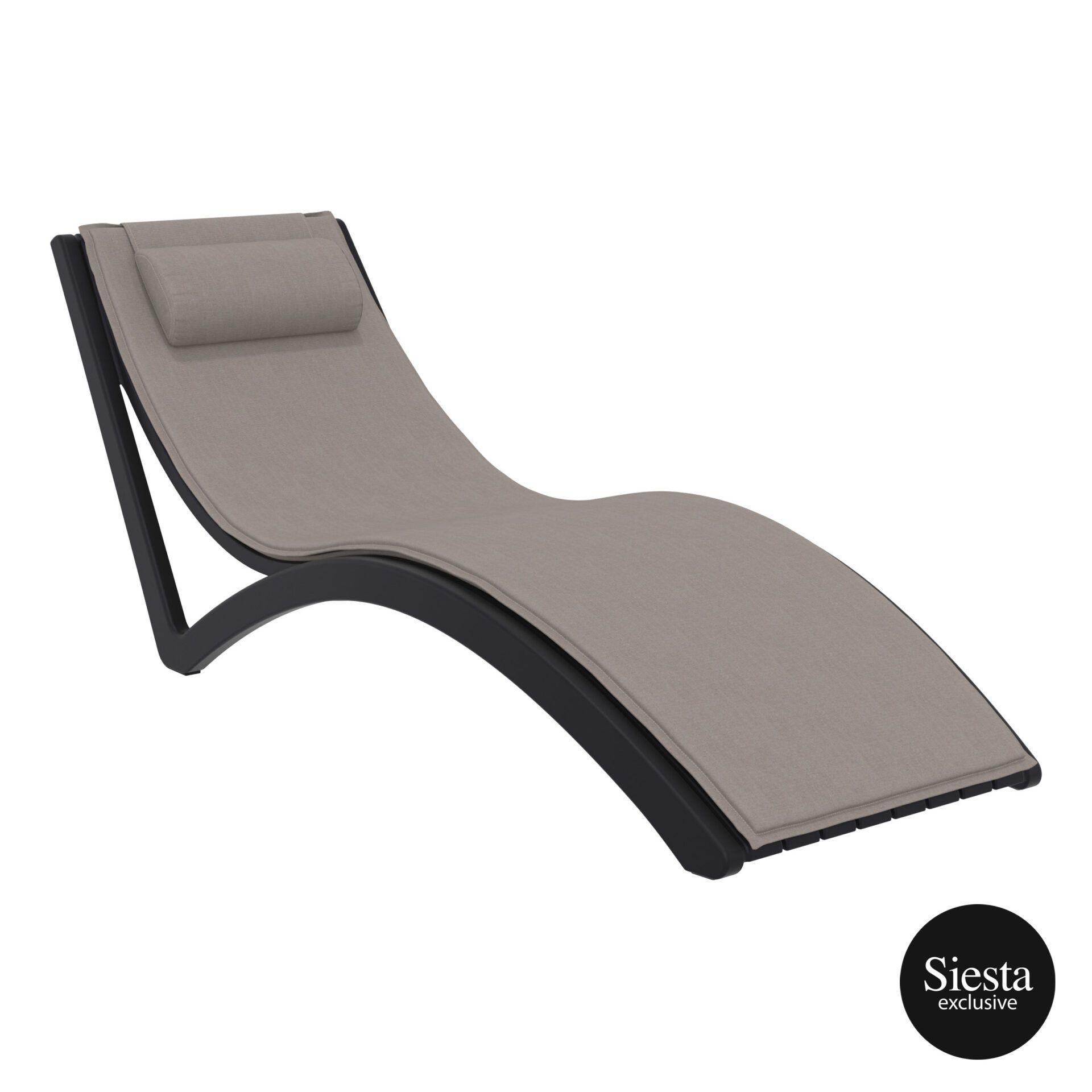 outdoor polypropylene slim sunlounger pillow cushion black brown front side