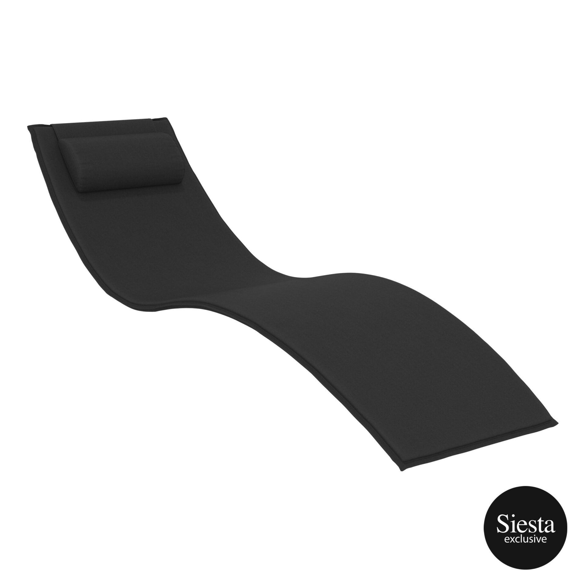 outdoor polypropylene slim sunlounger pillow cushion black cushion