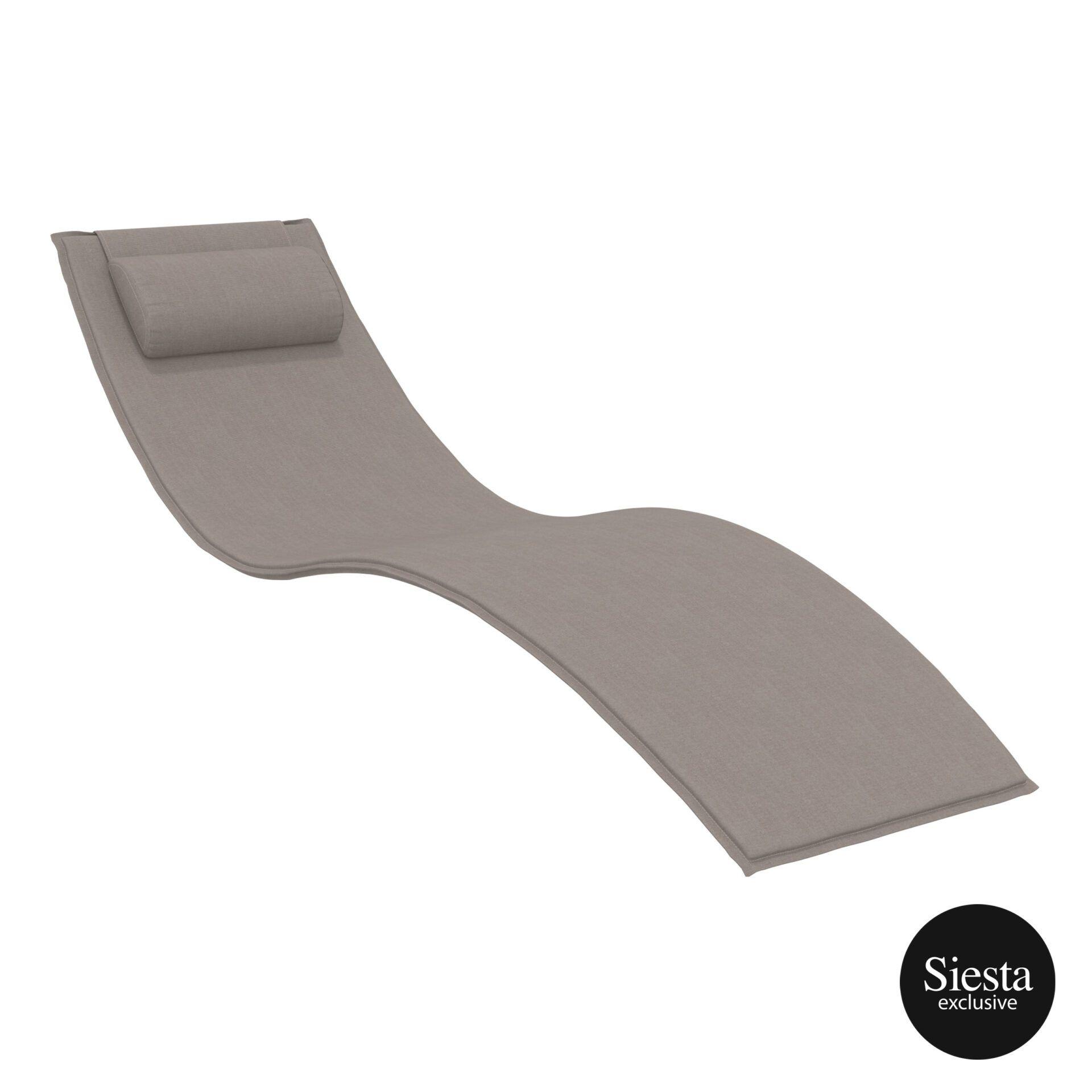 outdoor polypropylene slim sunlounger pillow cushion brown cushion
