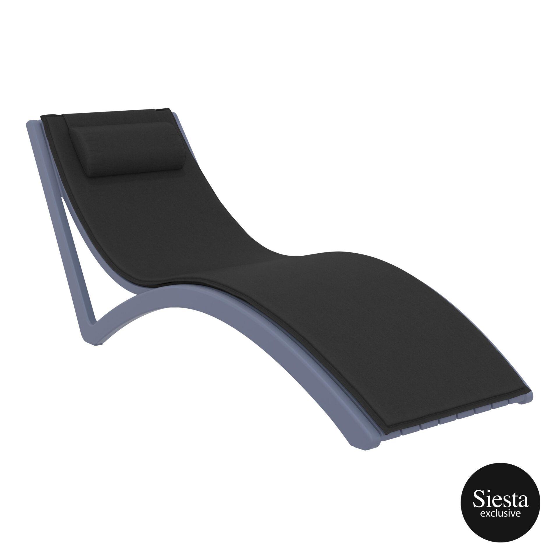 outdoor polypropylene slim sunlounger pillow cushion darkgrey black front side