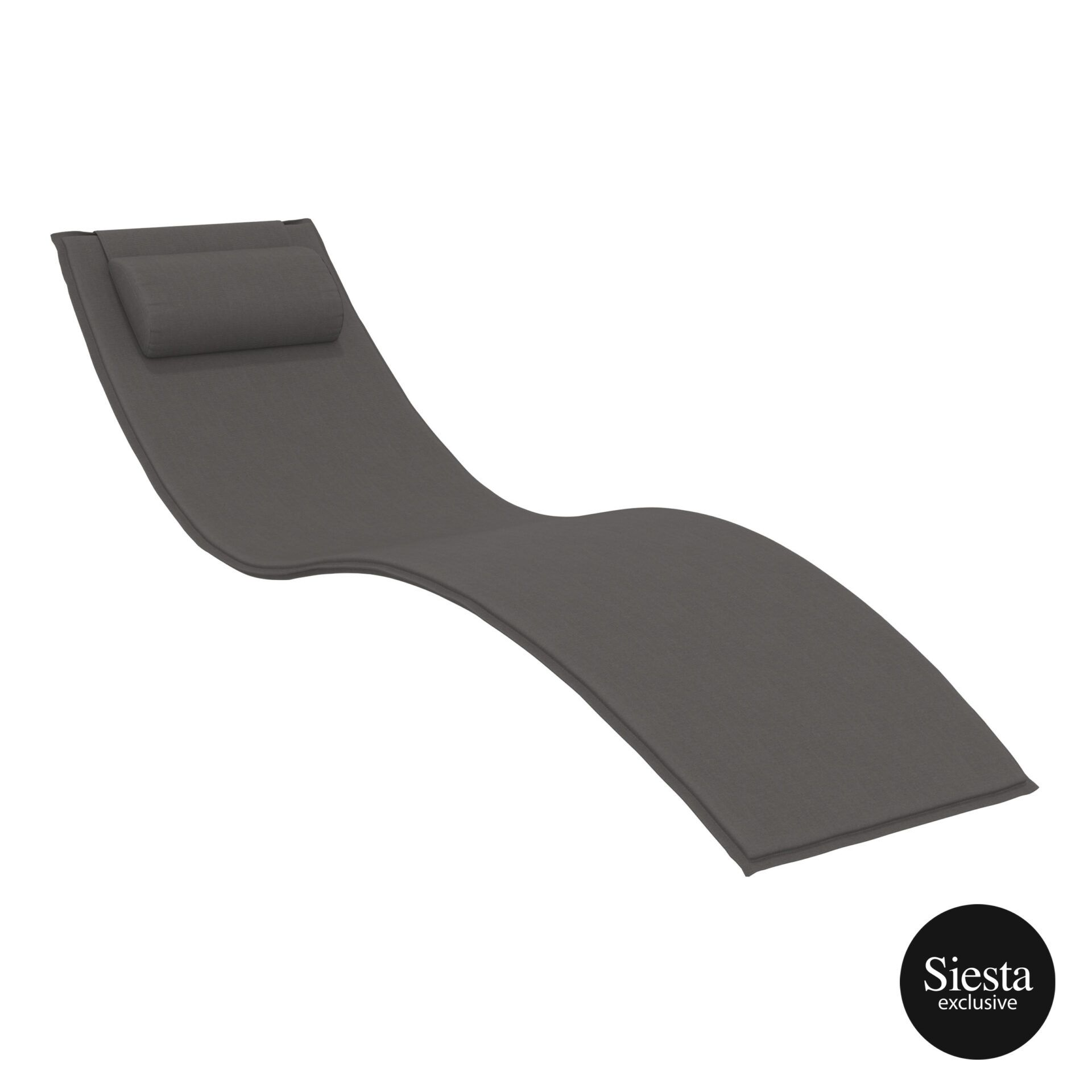 outdoor polypropylene slim sunlounger pillow cushion darkgrey cushion
