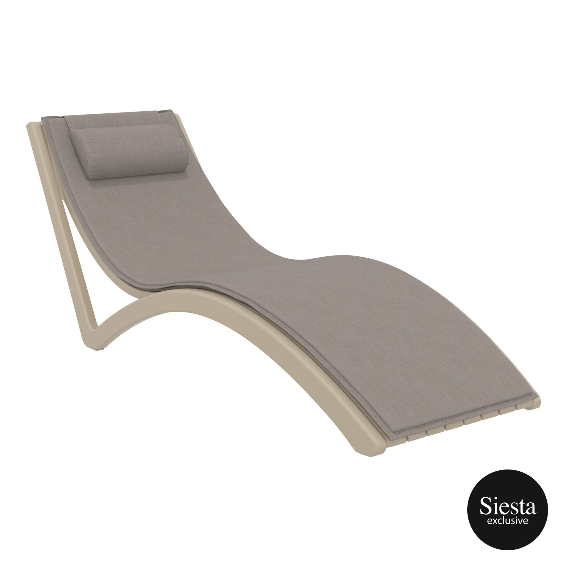 outdoor polypropylene slim sunlounger pillow cushion taupe brown front side