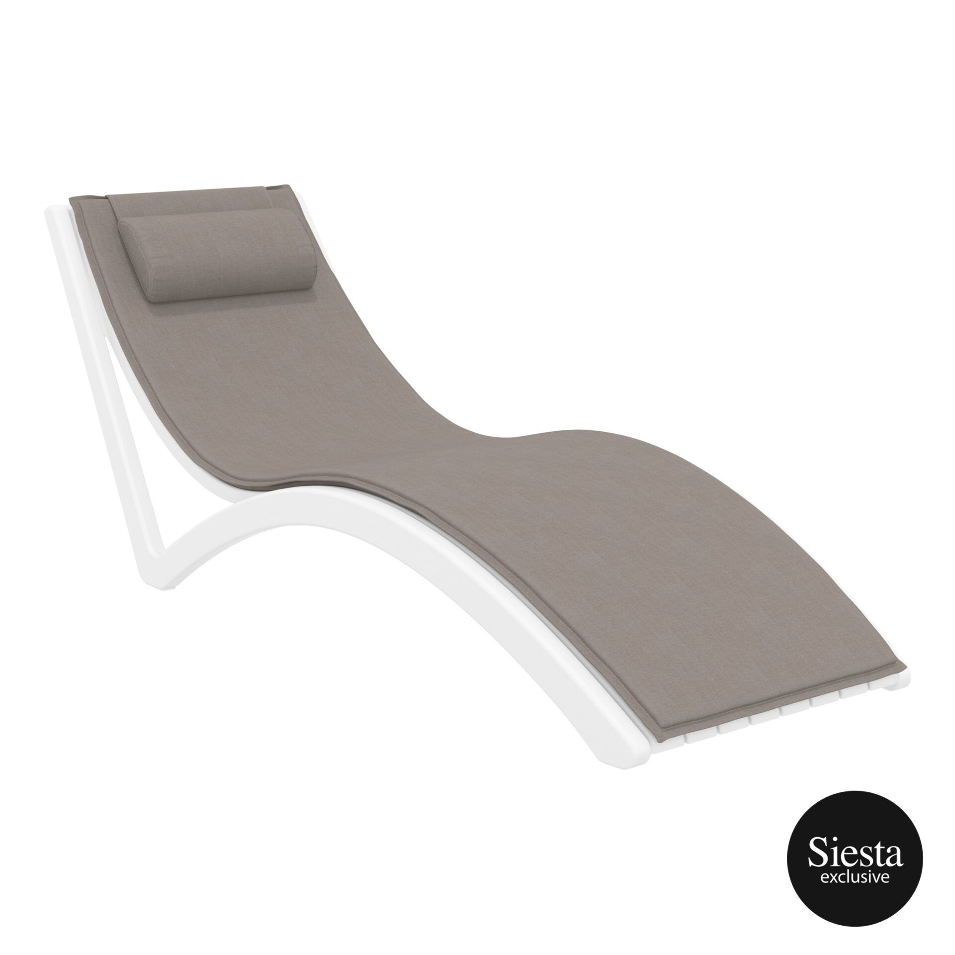 outdoor polypropylene slim sunlounger pillow cushion white brown front side