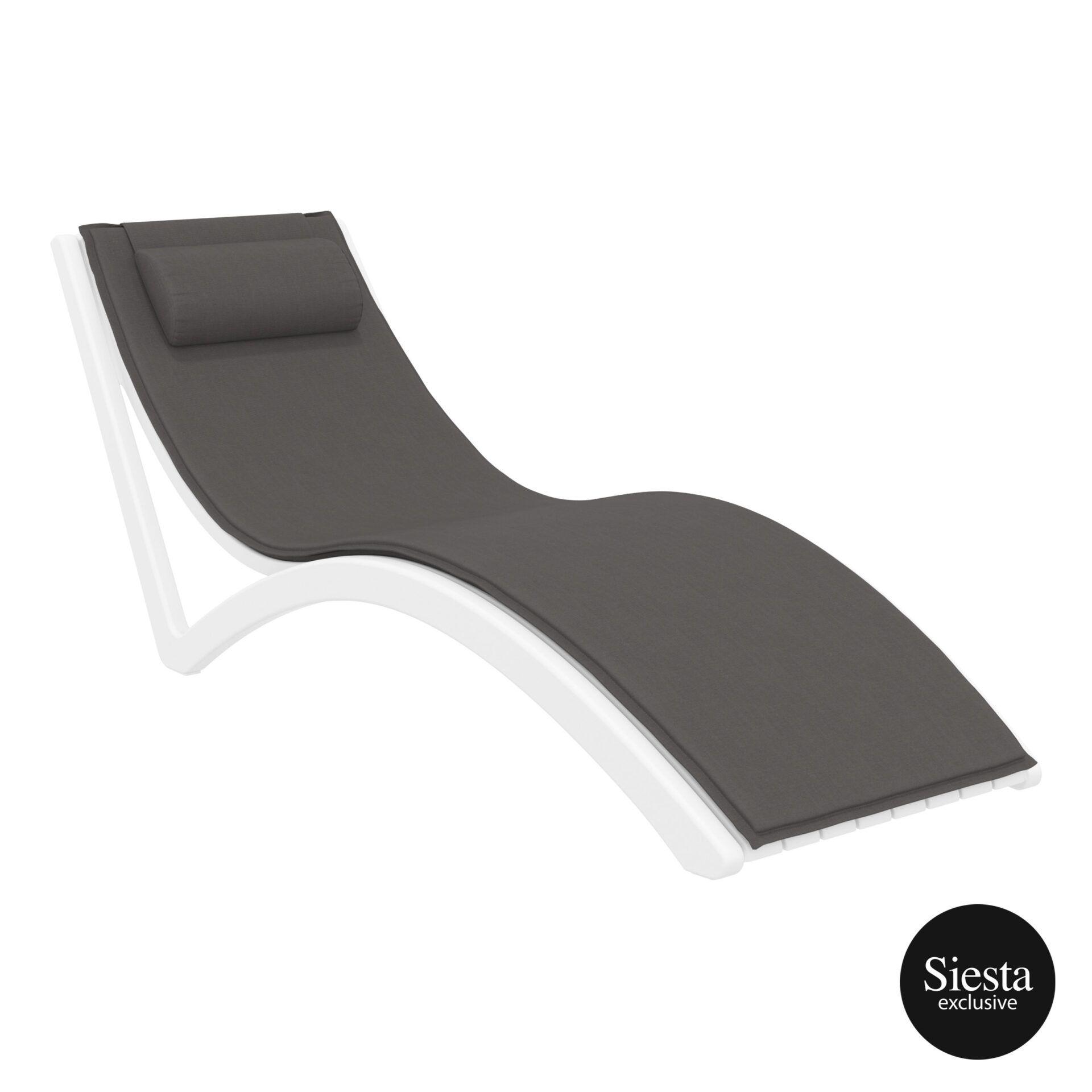 outdoor polypropylene slim sunlounger pillow cushion white darkgrey front side