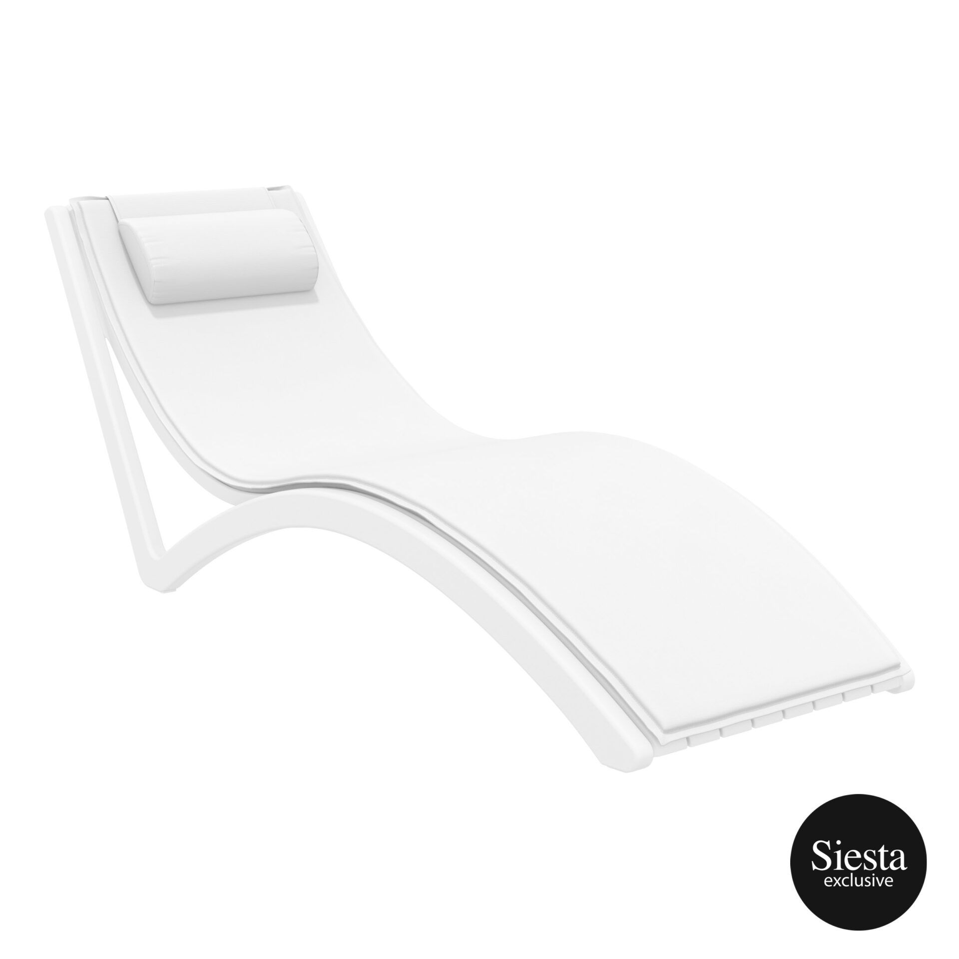 outdoor polypropylene slim sunlounger pillow cushion white white front side