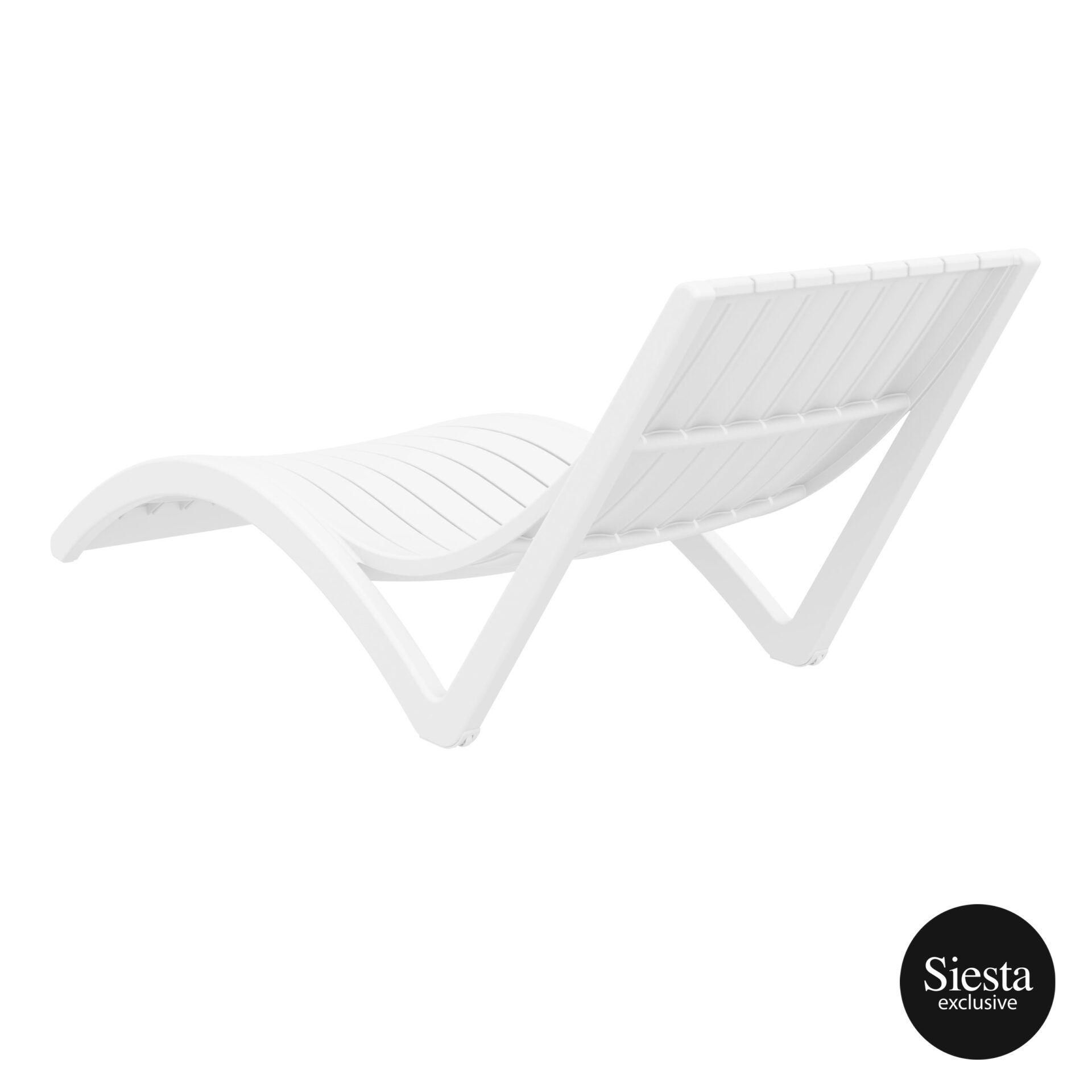 outdoor polypropylene slim sunlounger white back side