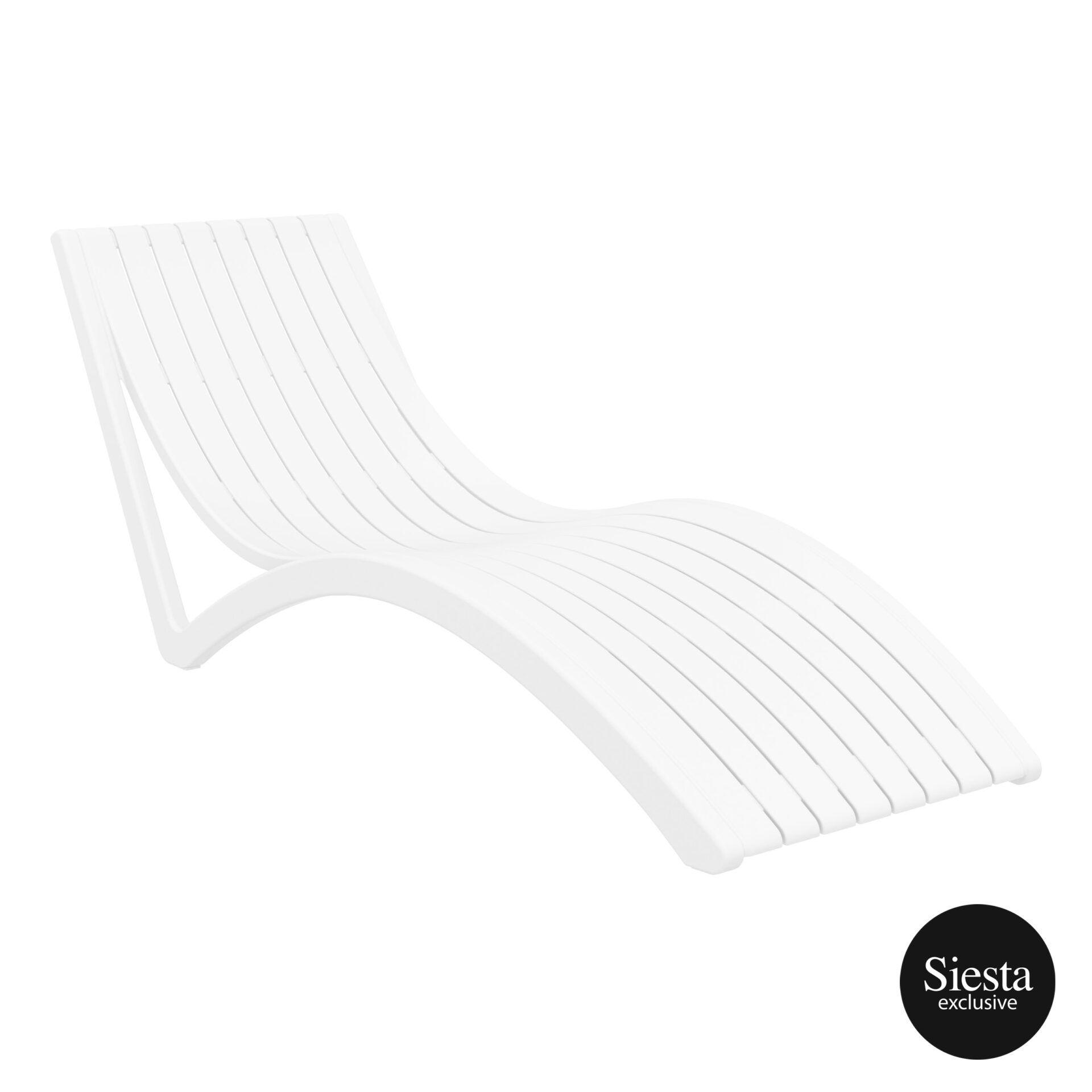 outdoor polypropylene slim sunlounger white front side