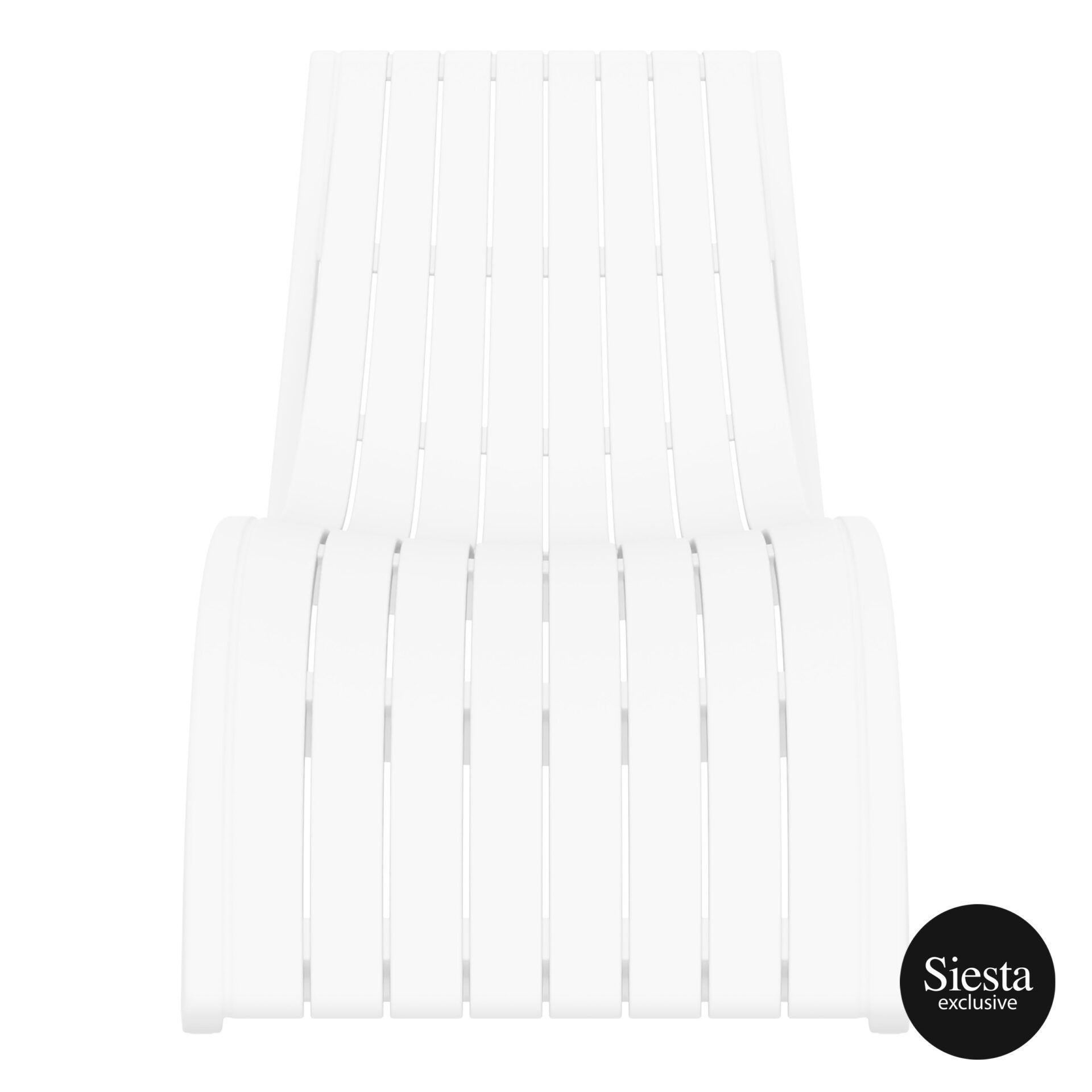 outdoor polypropylene slim sunlounger white front