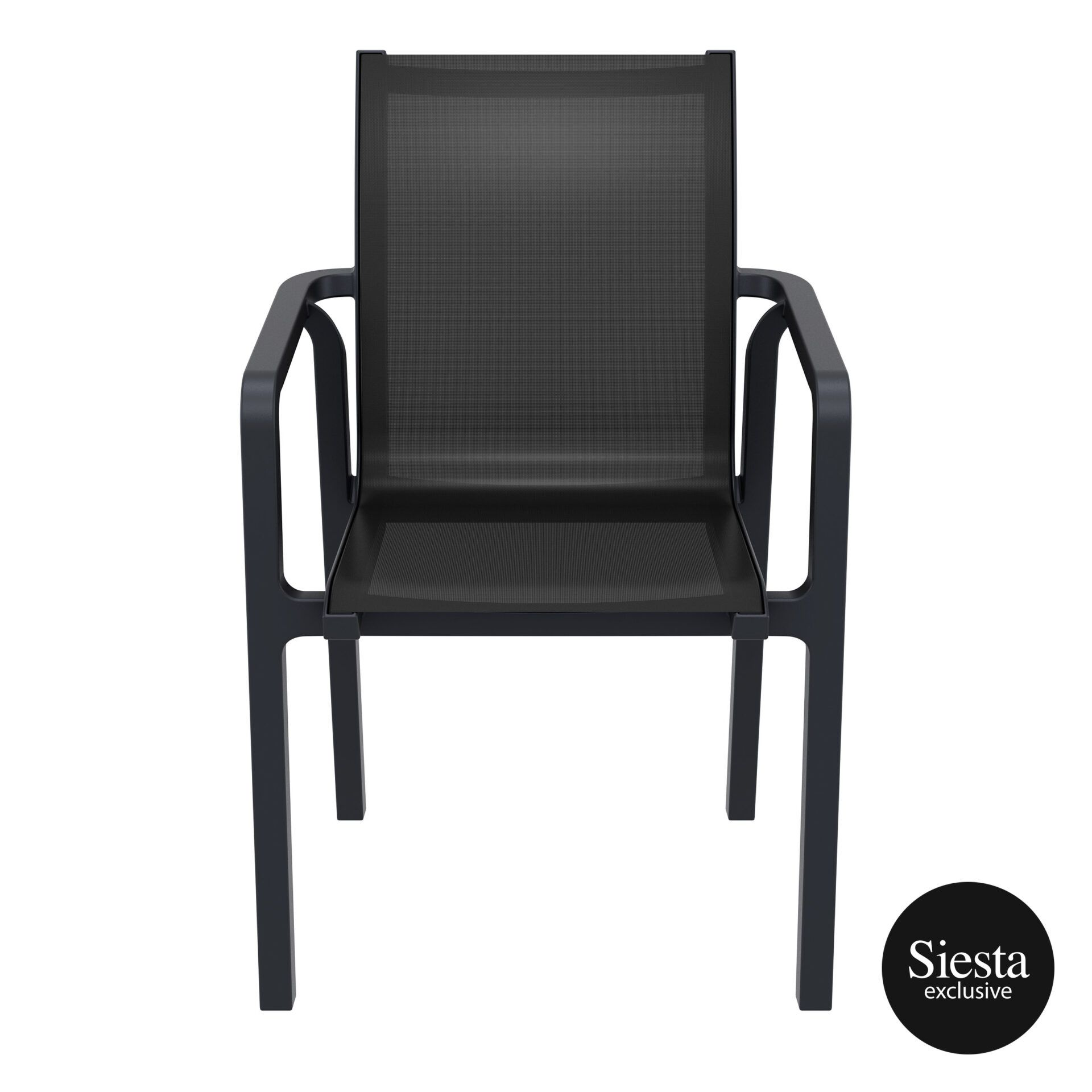 outdoor seating pacific armchair black black front 2
