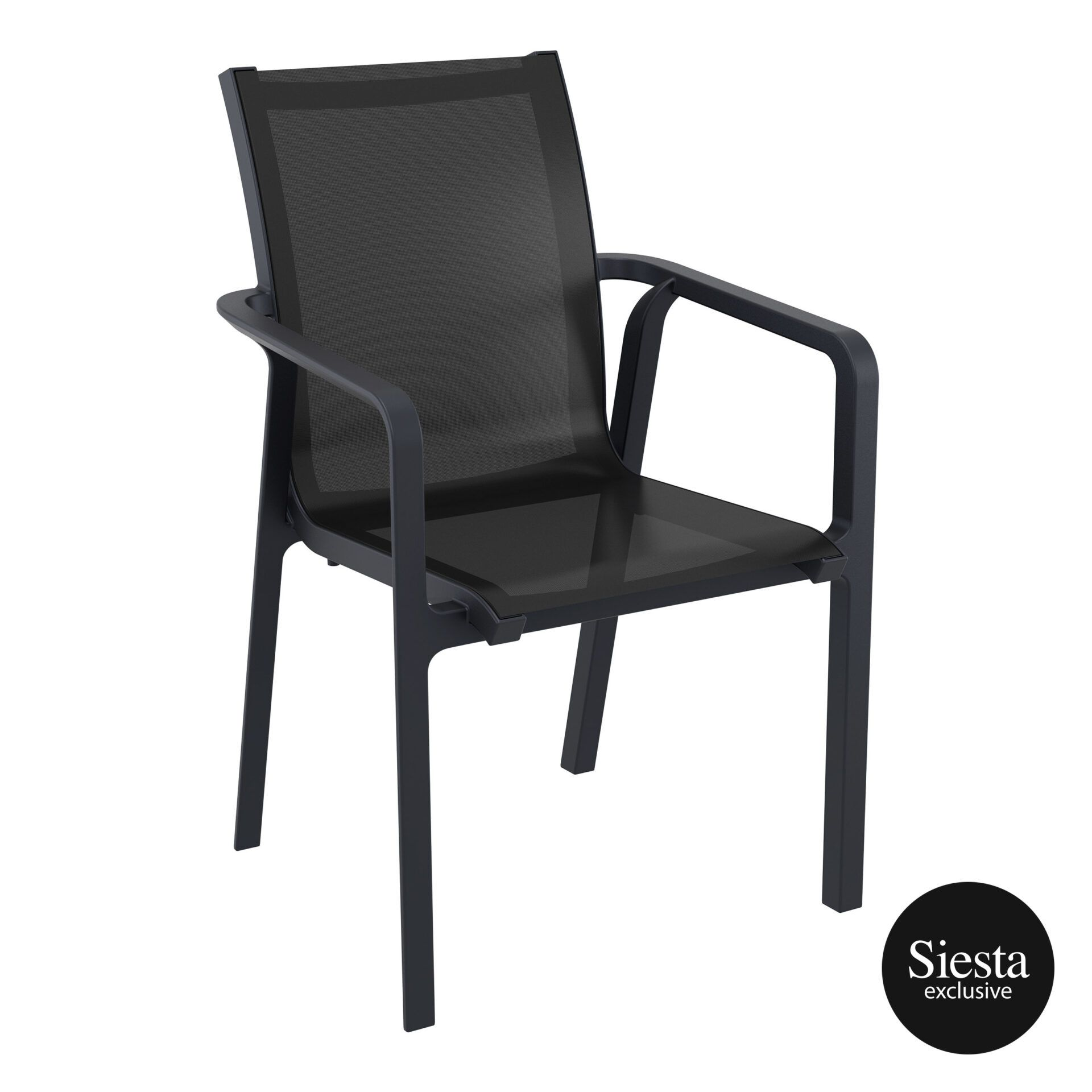 outdoor seating pacific armchair black black front side 2