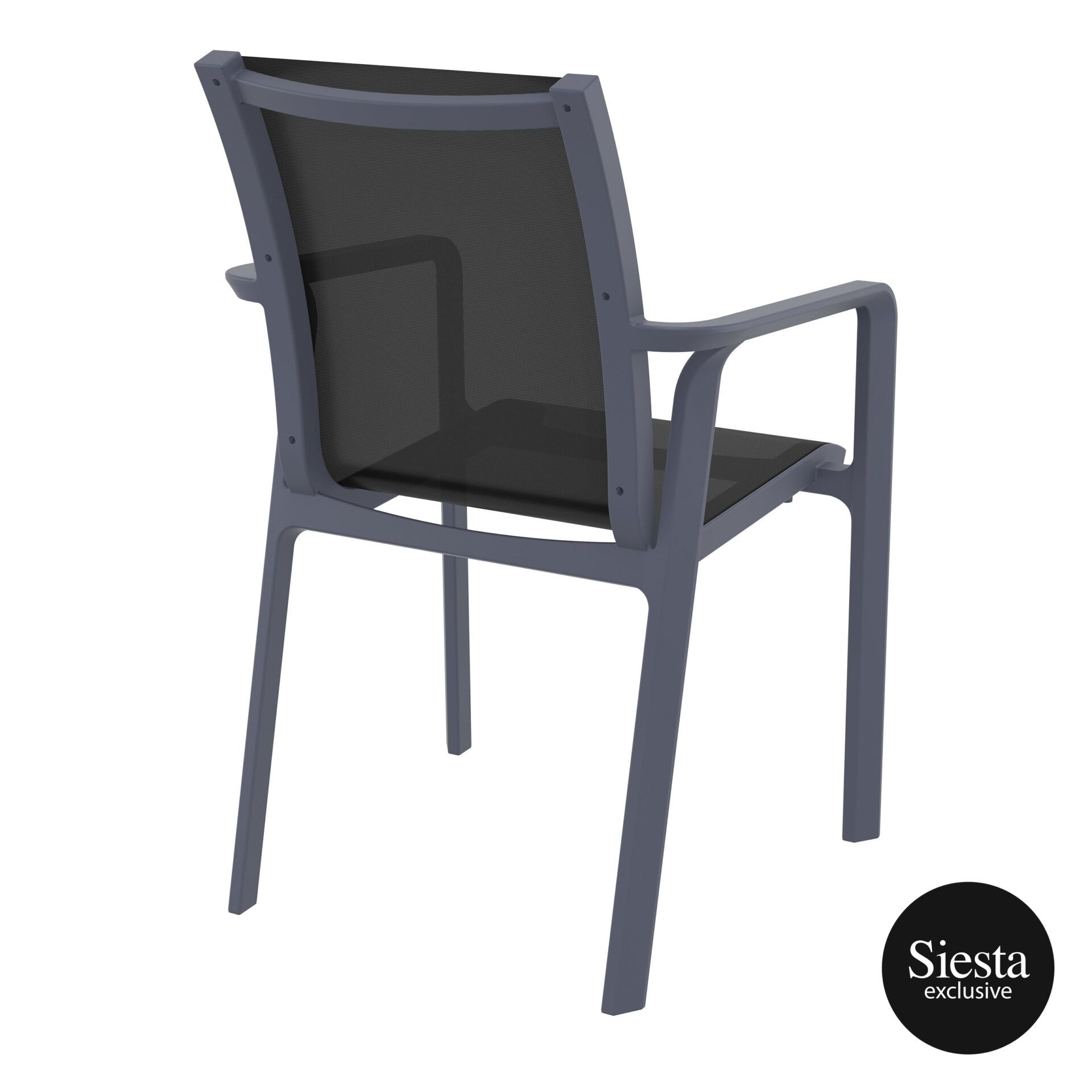 outdoor seating pacific armchair darkgrey black back side 2