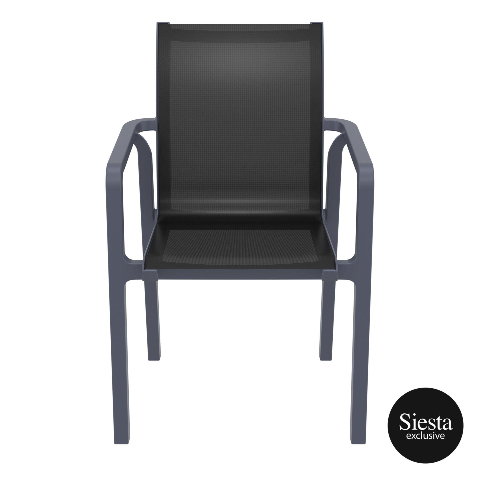 outdoor seating pacific armchair darkgrey black front 2