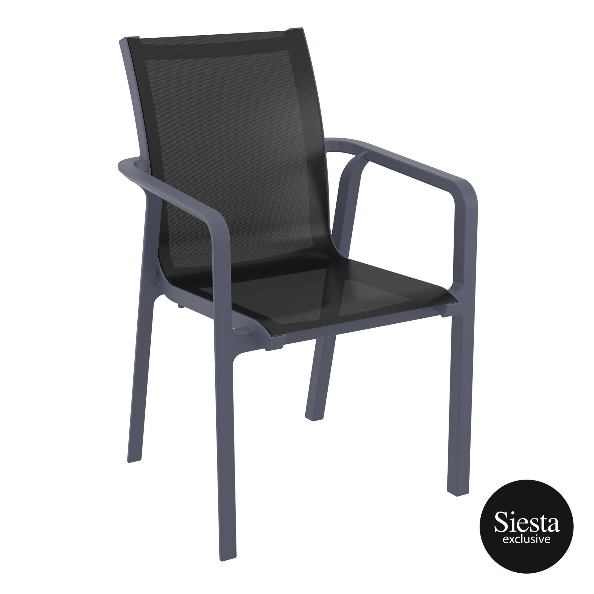 outdoor seating pacific armchair darkgrey black front side 2