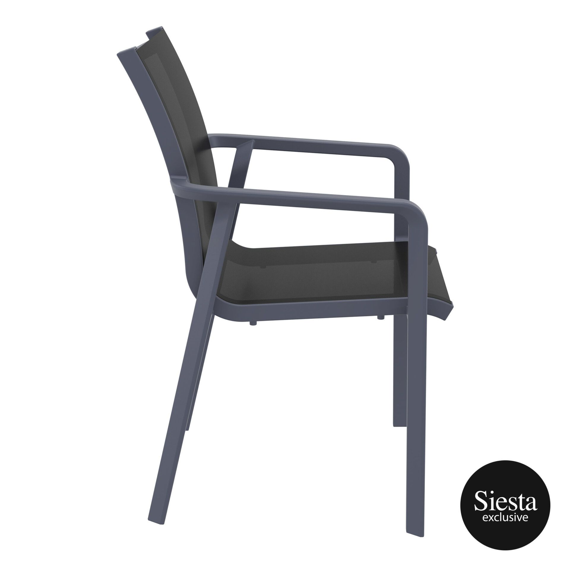 outdoor seating pacific armchair darkgrey black side 2