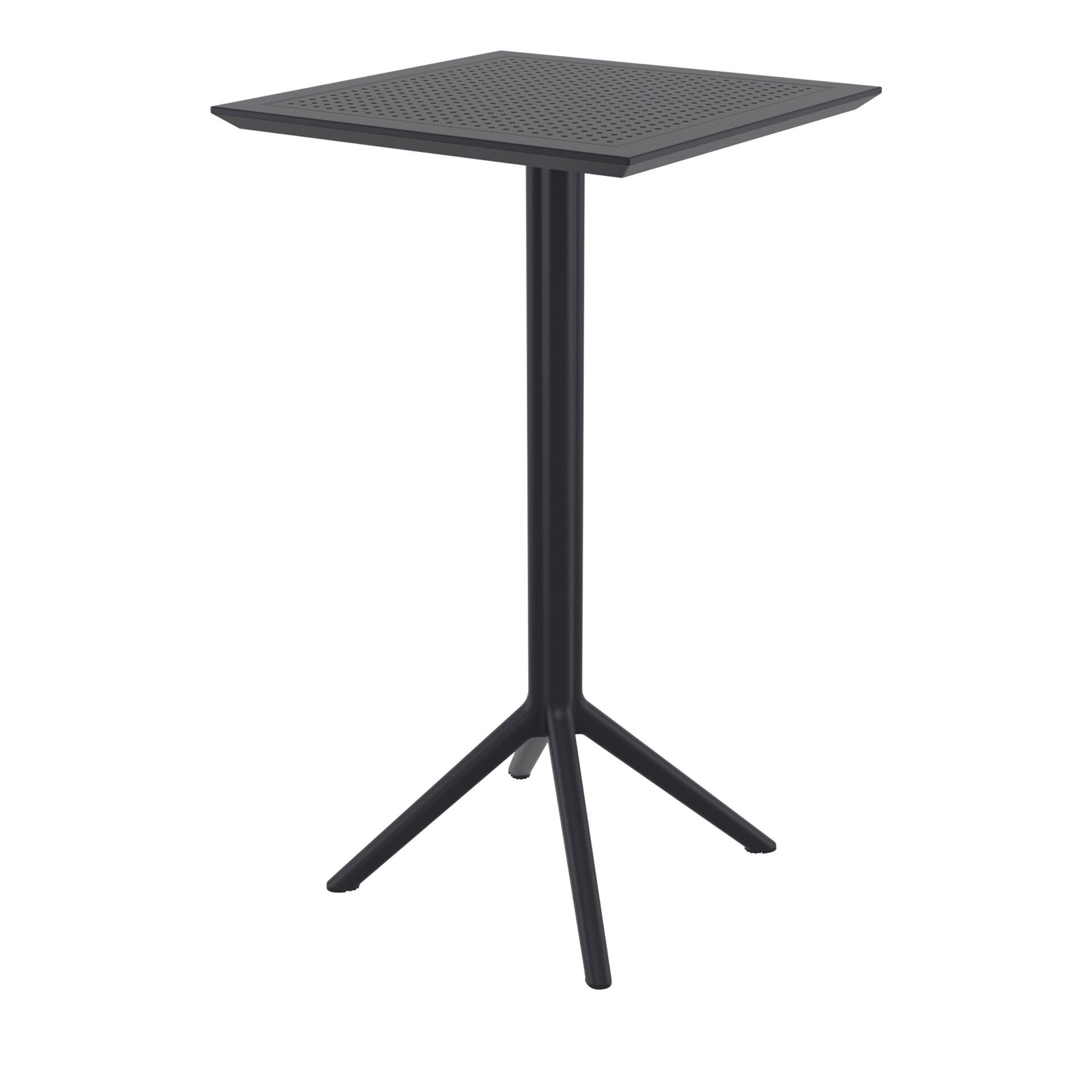 polypropylene outdoor sky folding bar table 60 black front side 1