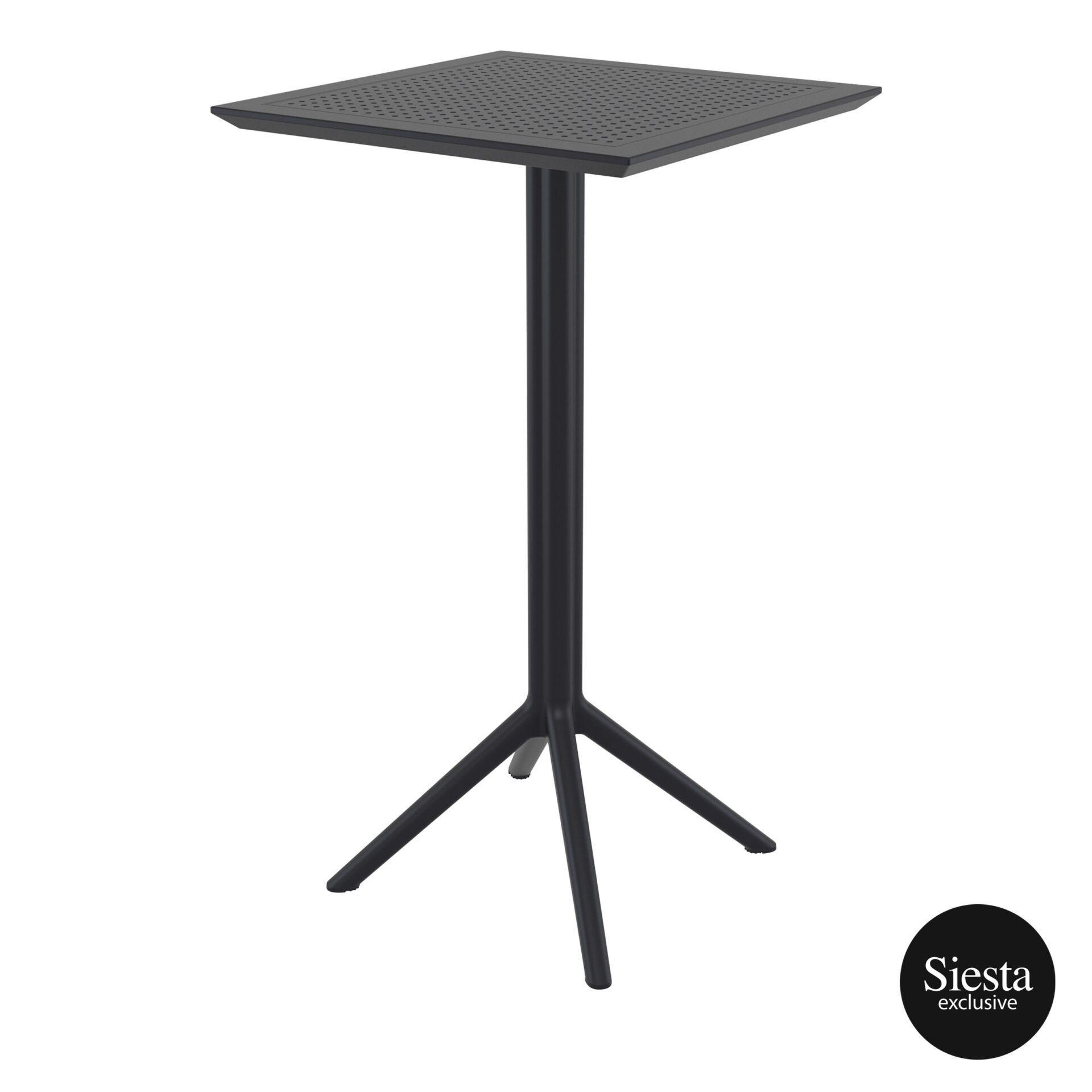 polypropylene outdoor sky folding bar table 60 black front side 2