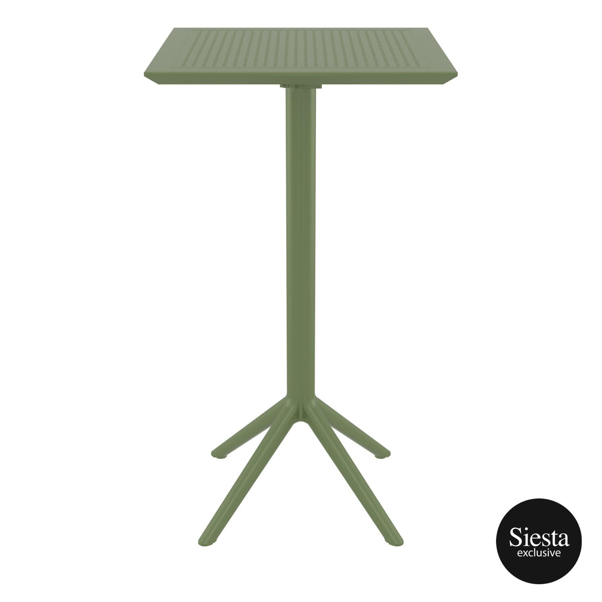 polypropylene outdoor sky folding bar table 60 olive green front 2