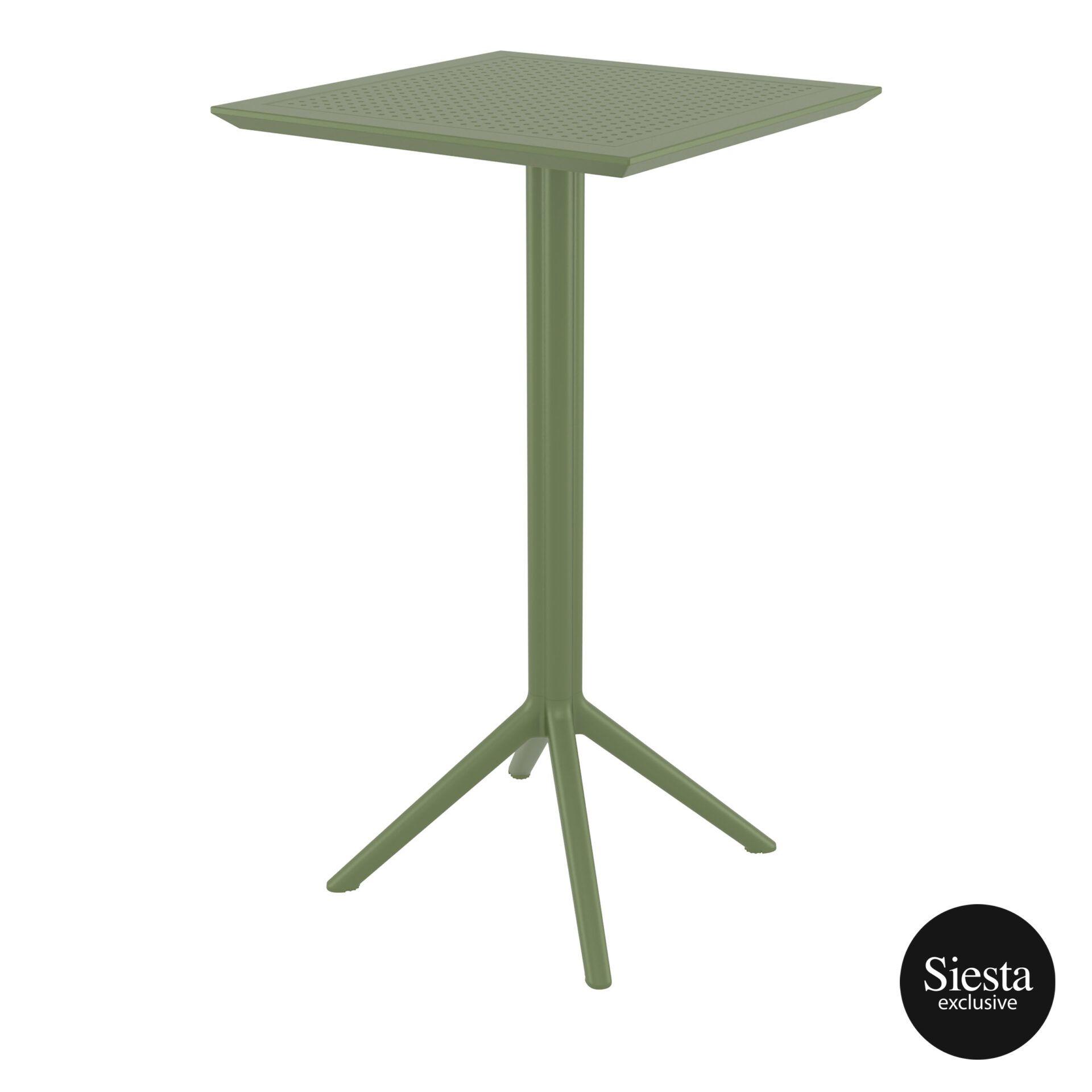 polypropylene outdoor sky folding bar table 60 olive green front side 2