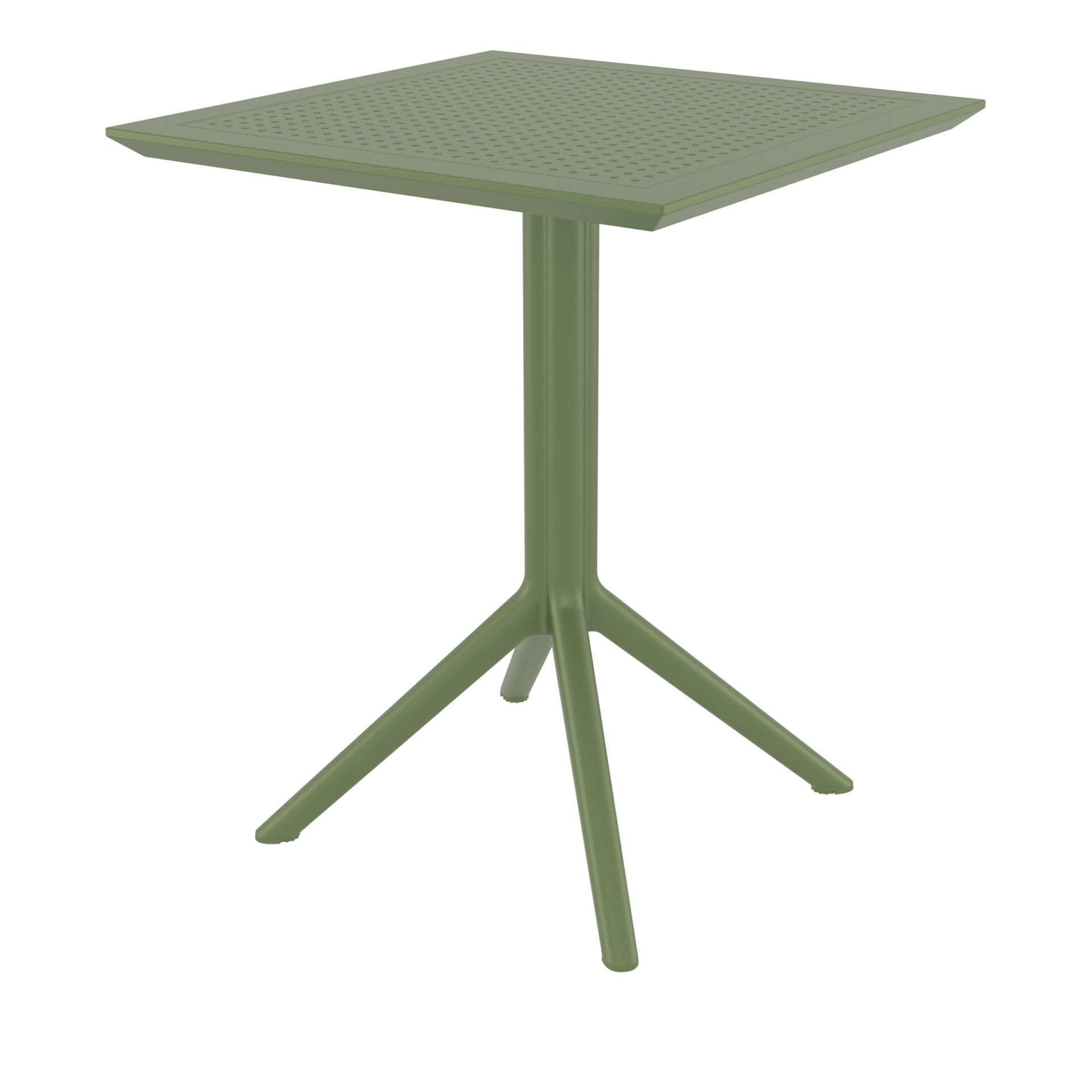 polypropylene outdoor sky folding bar table 60 olive green front side