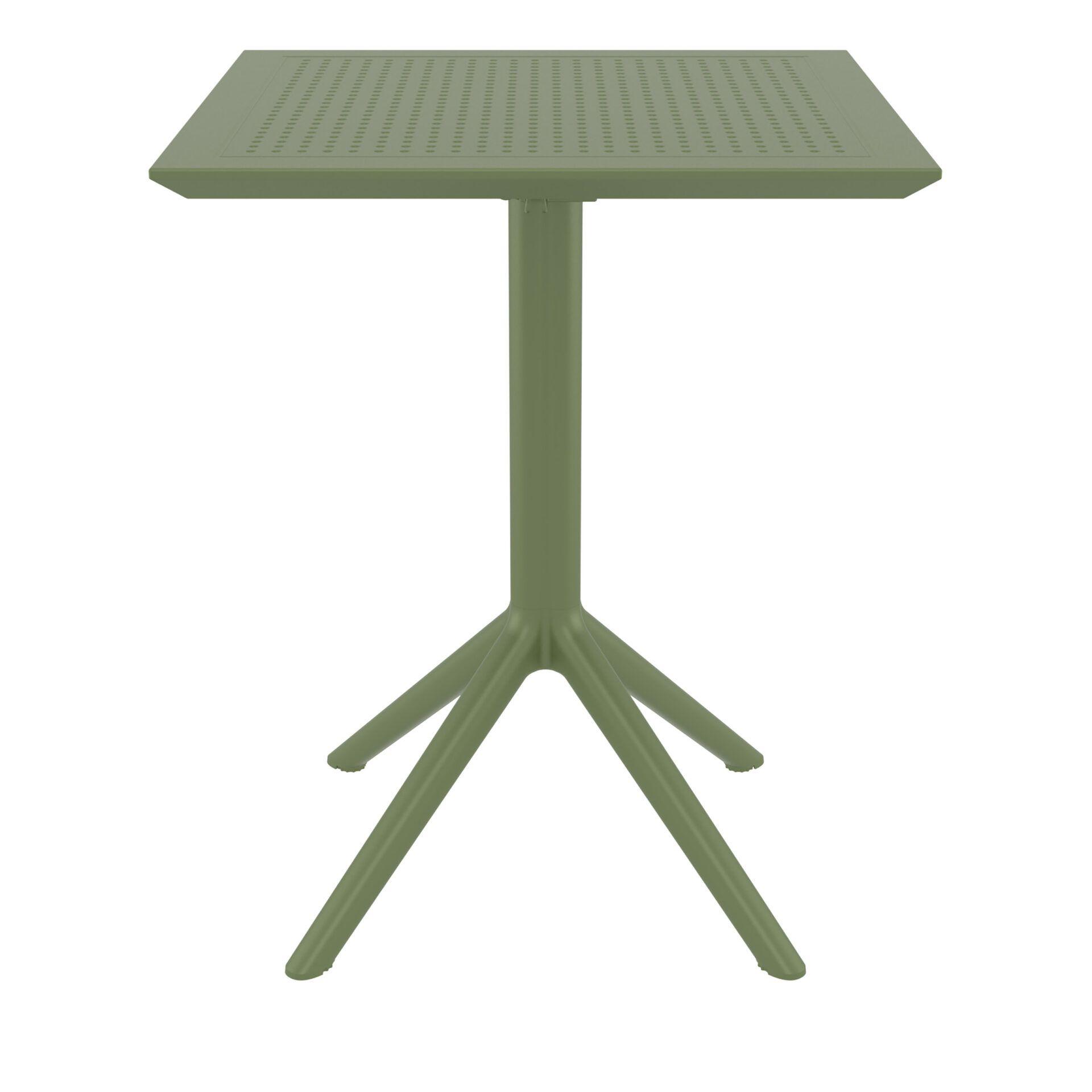 polypropylene outdoor sky folding bar table 60 olive green front