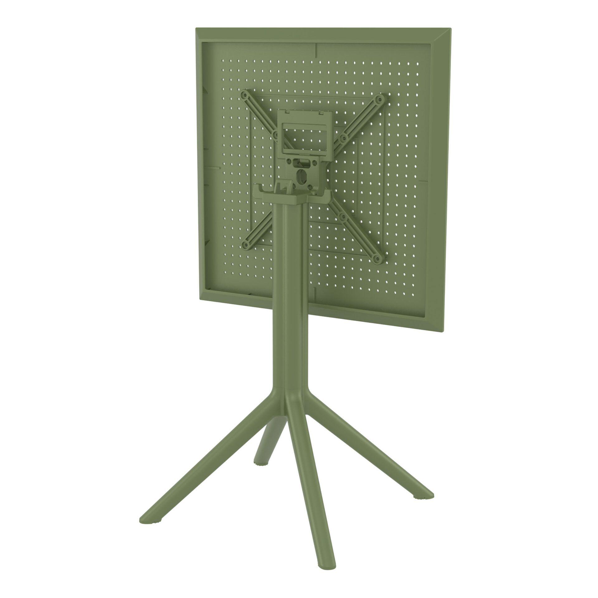 polypropylene outdoor sky folding bar table 60 olive green k back side