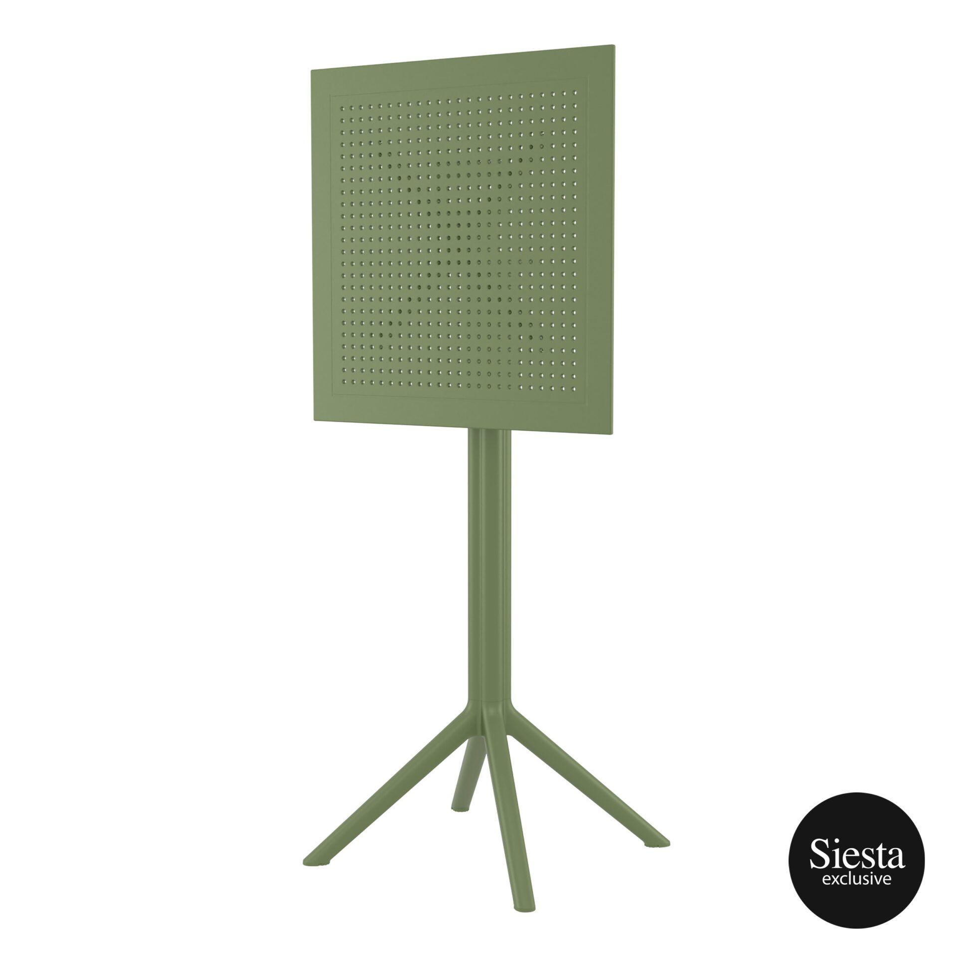 polypropylene outdoor sky folding bar table 60 olive green k front side 2