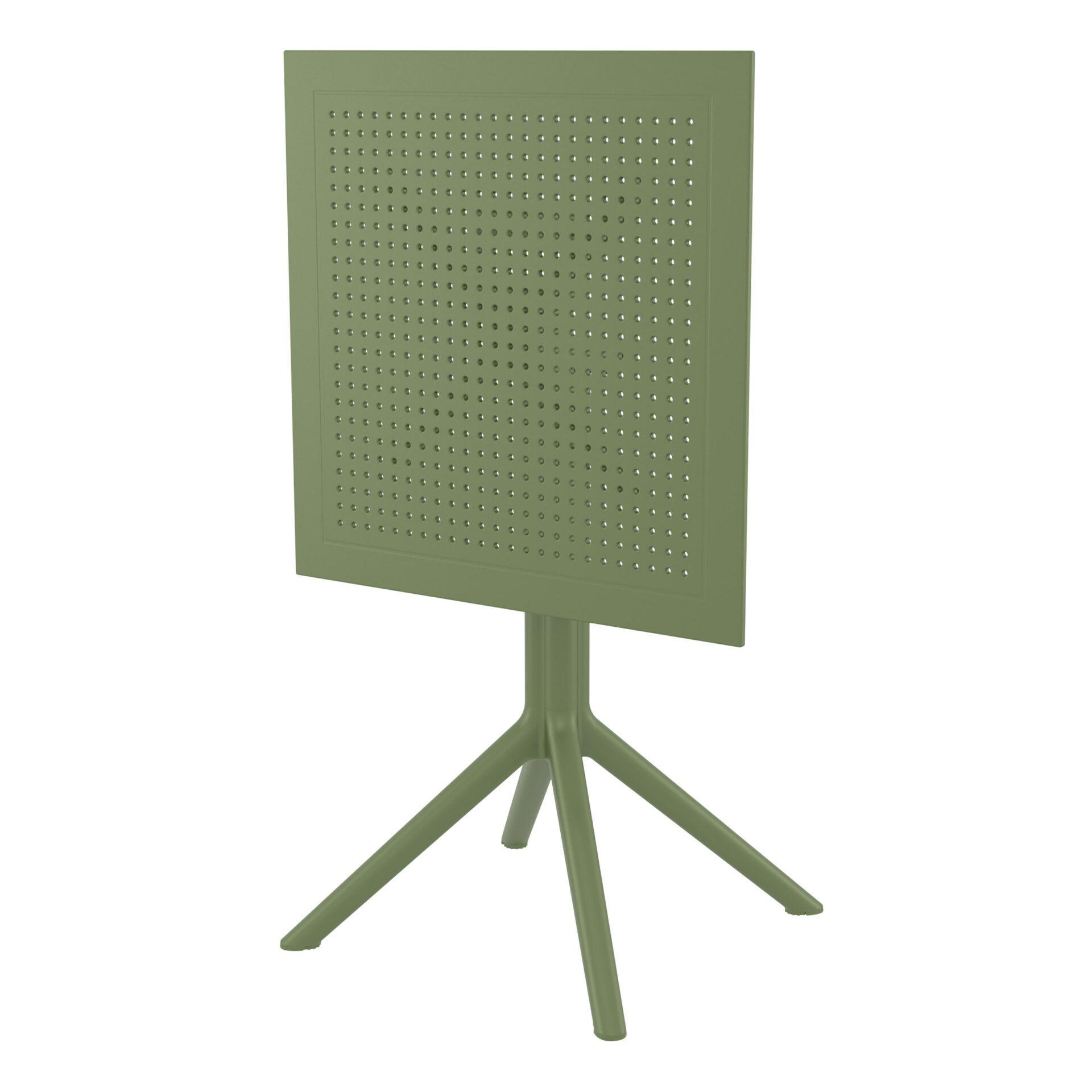 polypropylene outdoor sky folding bar table 60 olive green k front side