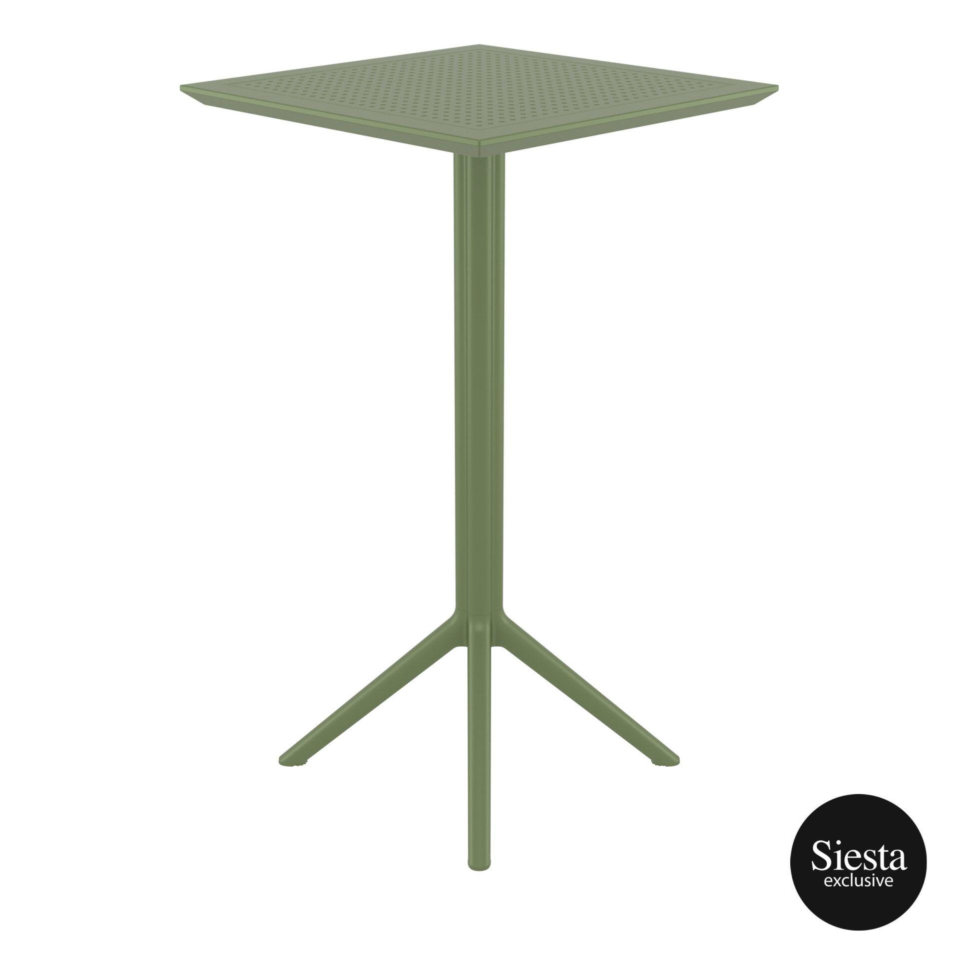 polypropylene outdoor sky folding bar table 60 olive green side 2