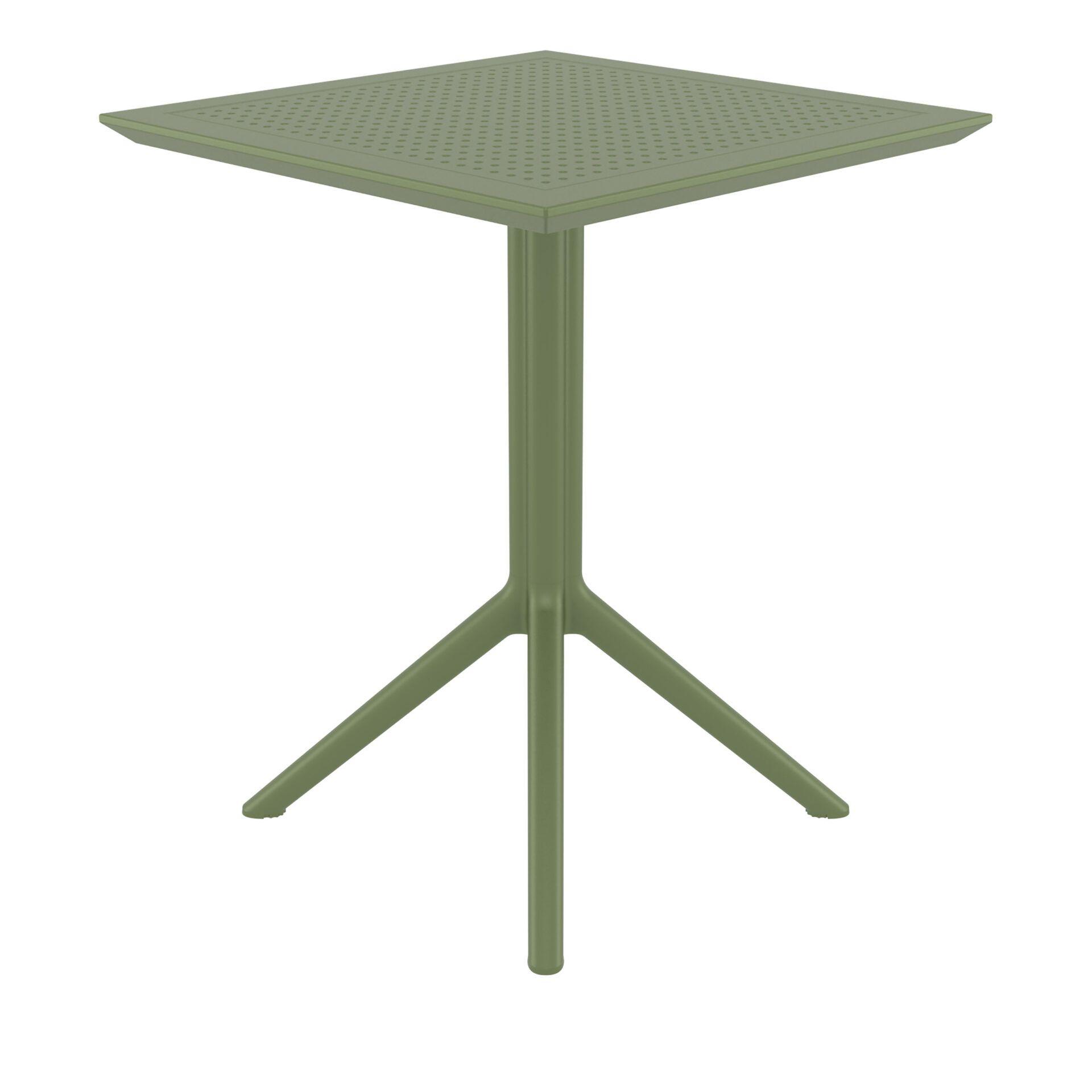 polypropylene outdoor sky folding bar table 60 olive green side