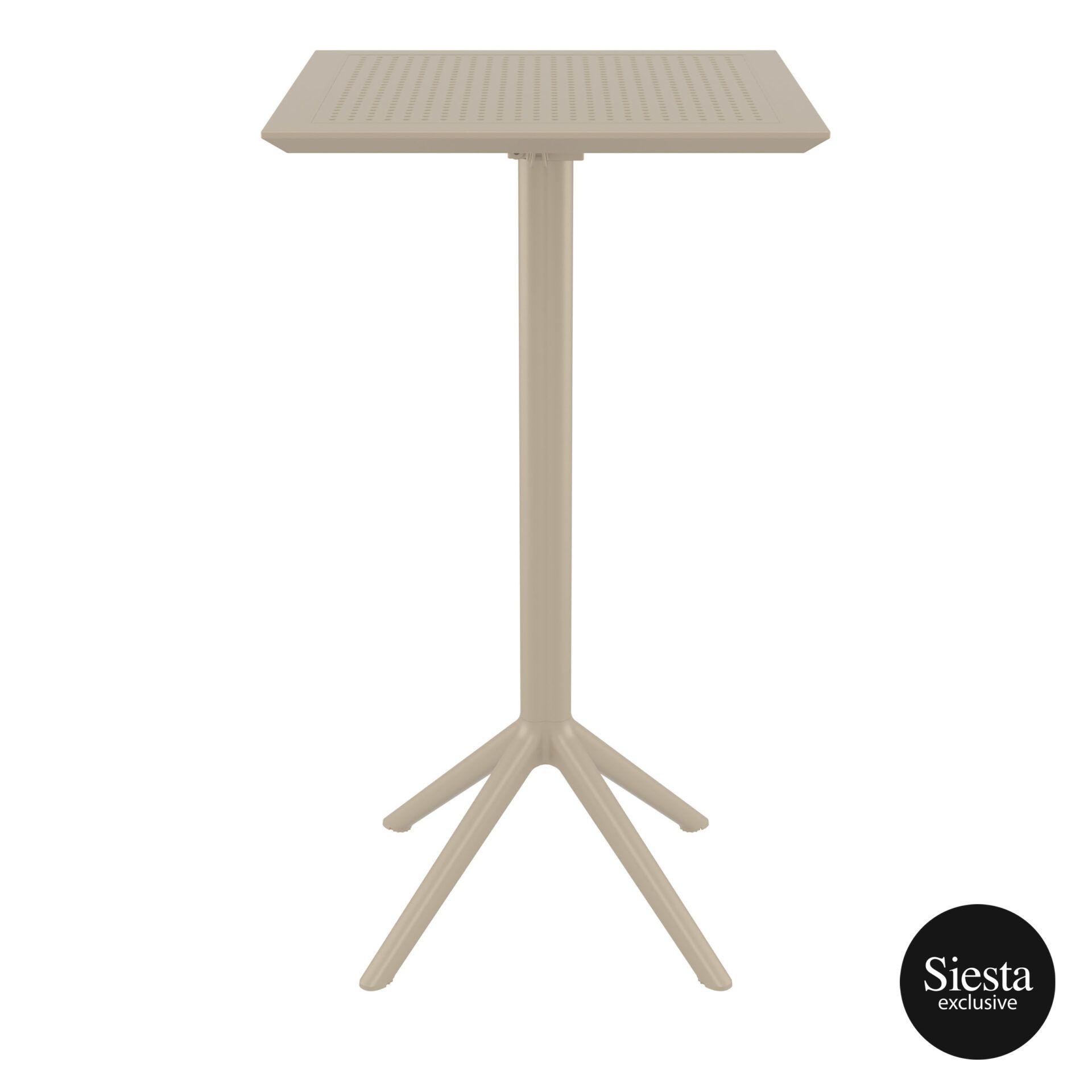 polypropylene outdoor sky folding bar table 60 taupe front 2