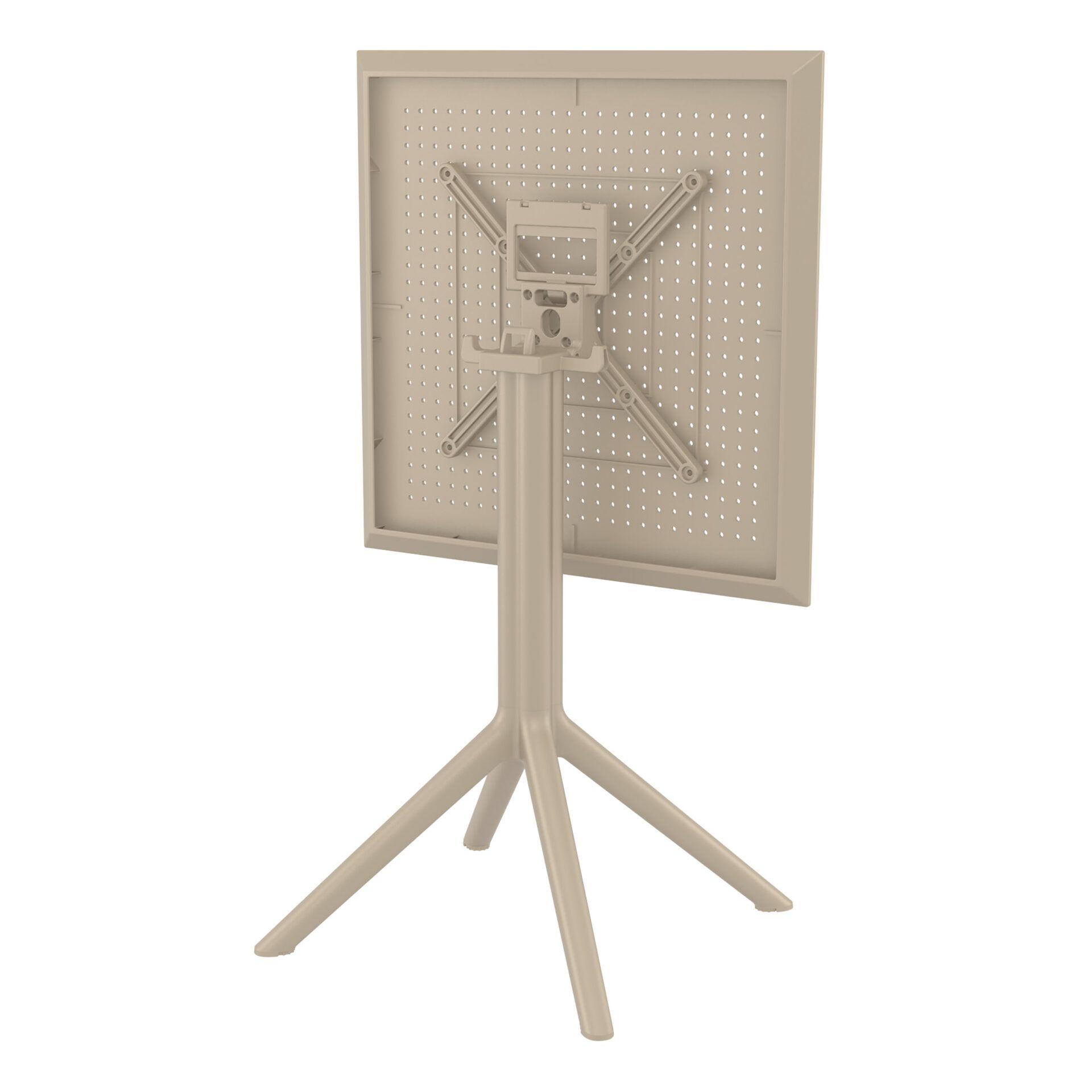 polypropylene outdoor sky folding bar table 60 taupe k back side