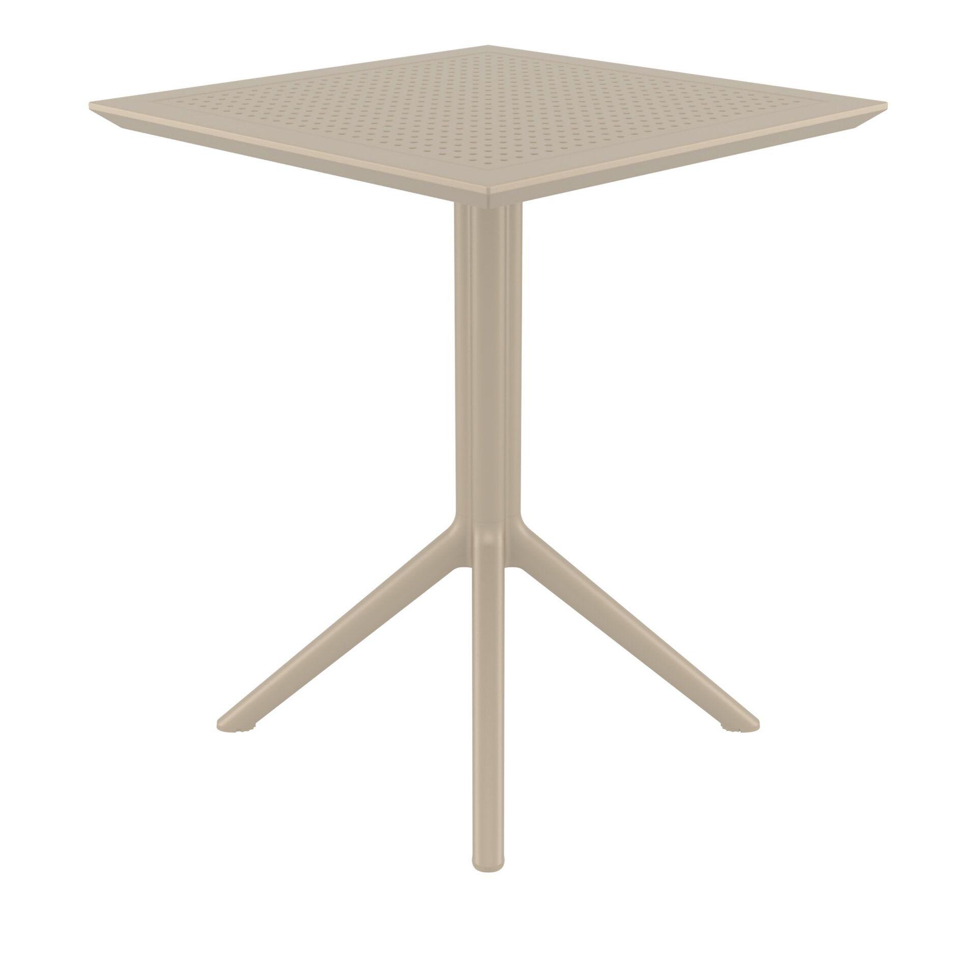 polypropylene outdoor sky folding bar table 60 taupe side