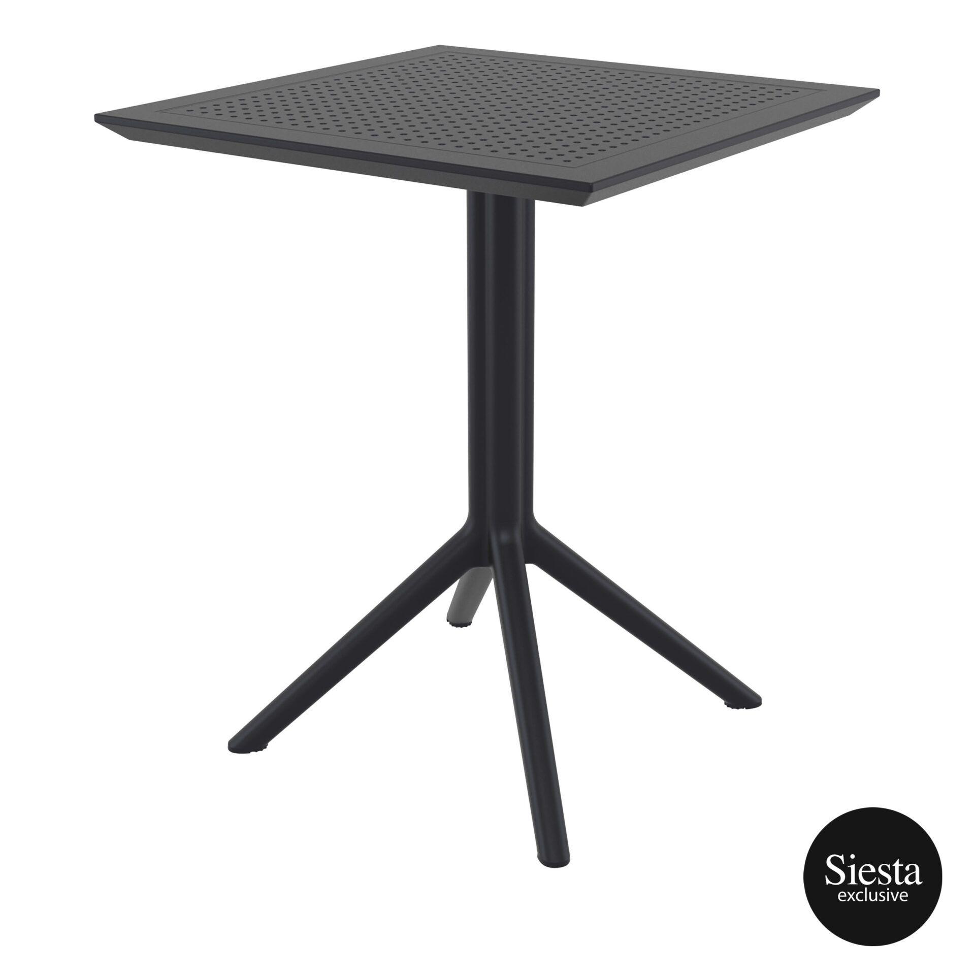 polypropylene outdoor sky folding table 60 black front side