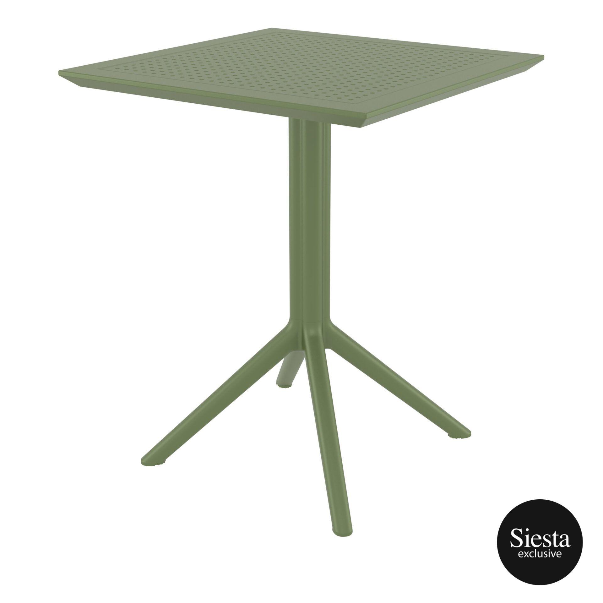 polypropylene outdoor sky folding table 60 olive green front side