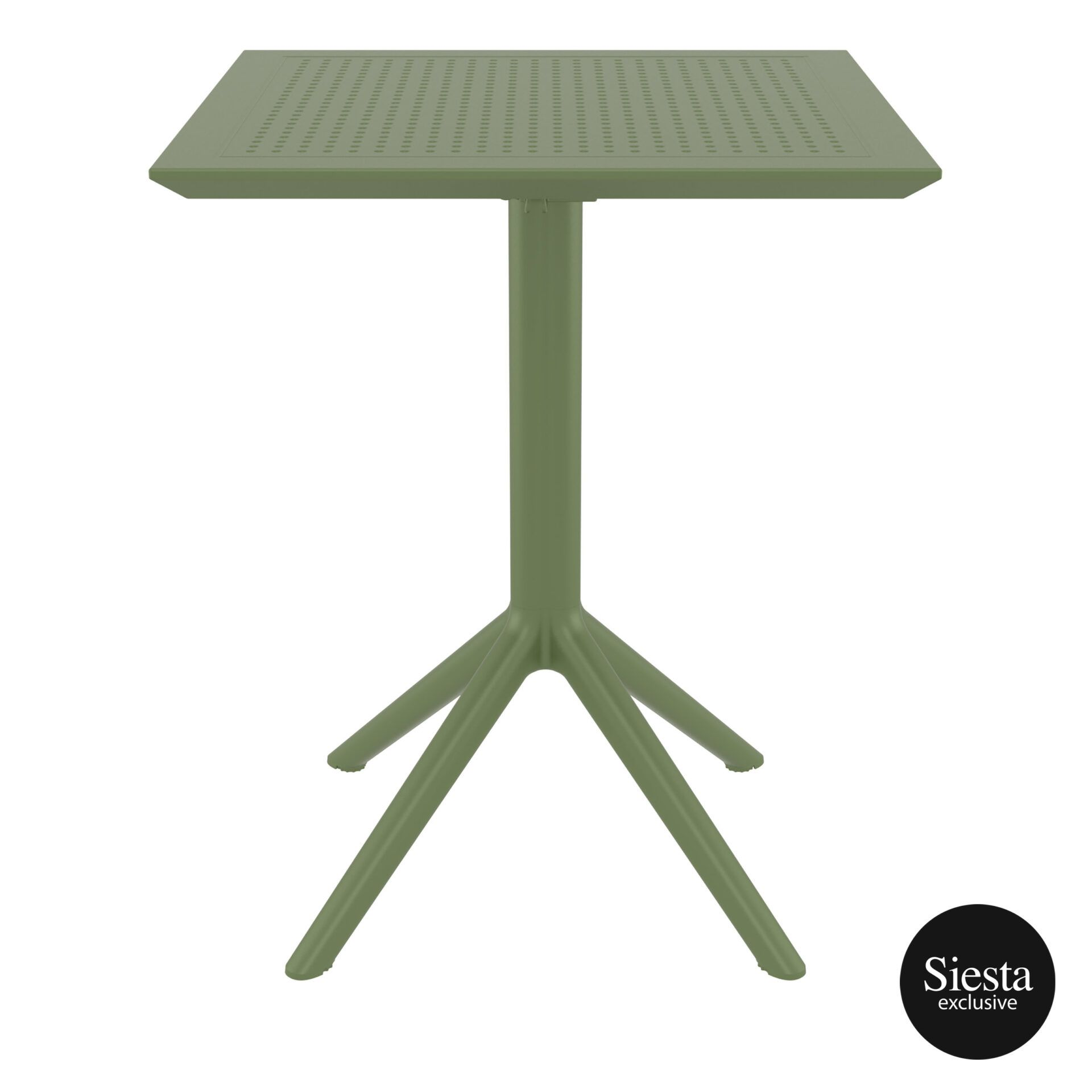 polypropylene outdoor sky folding table 60 olive green front