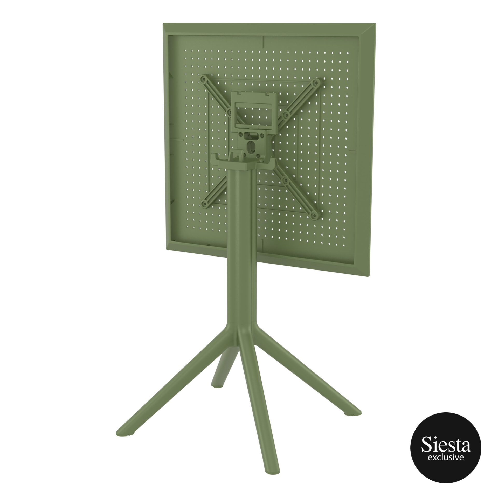 polypropylene outdoor sky folding table 60 olive green k back side