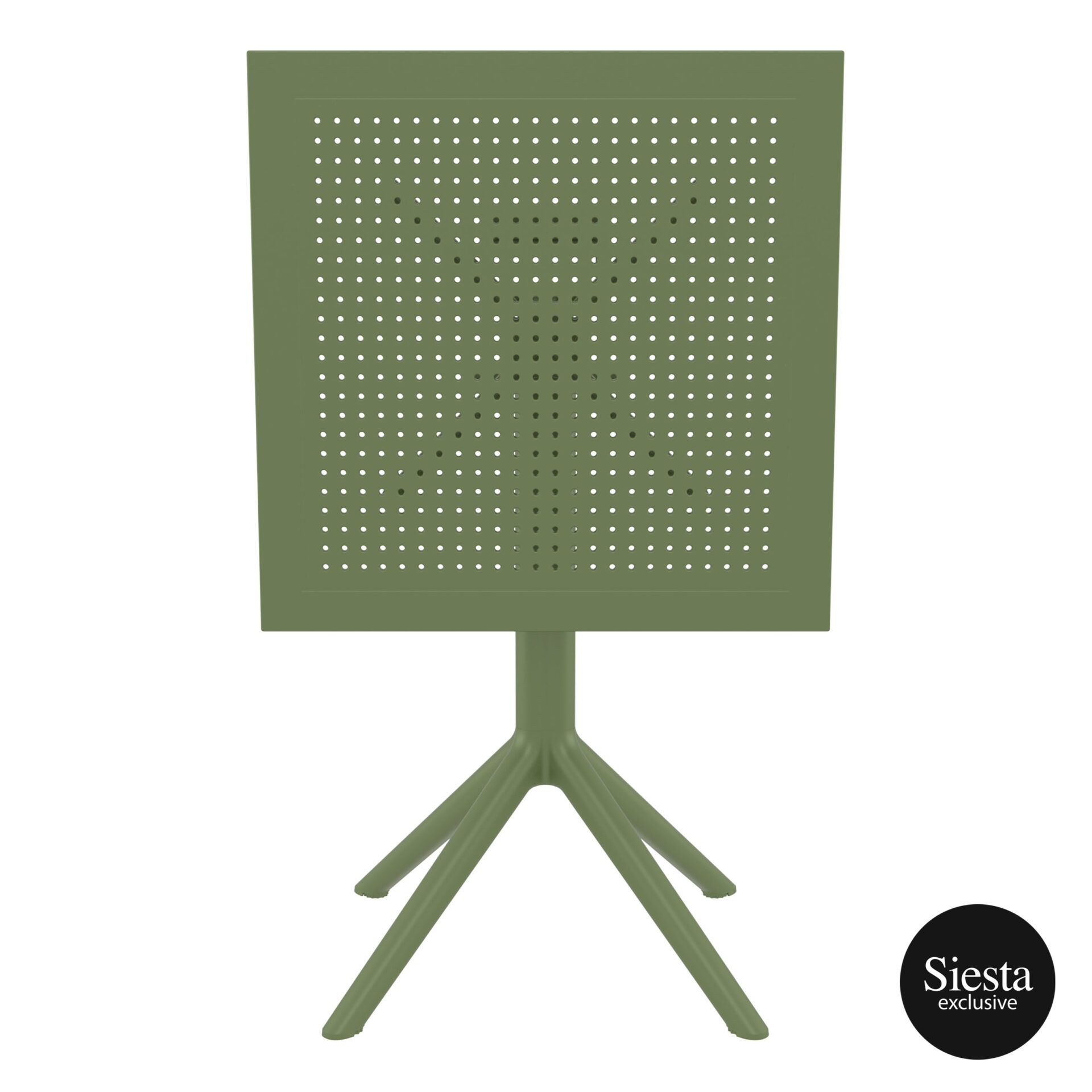 polypropylene outdoor sky folding table 60 olive green k front