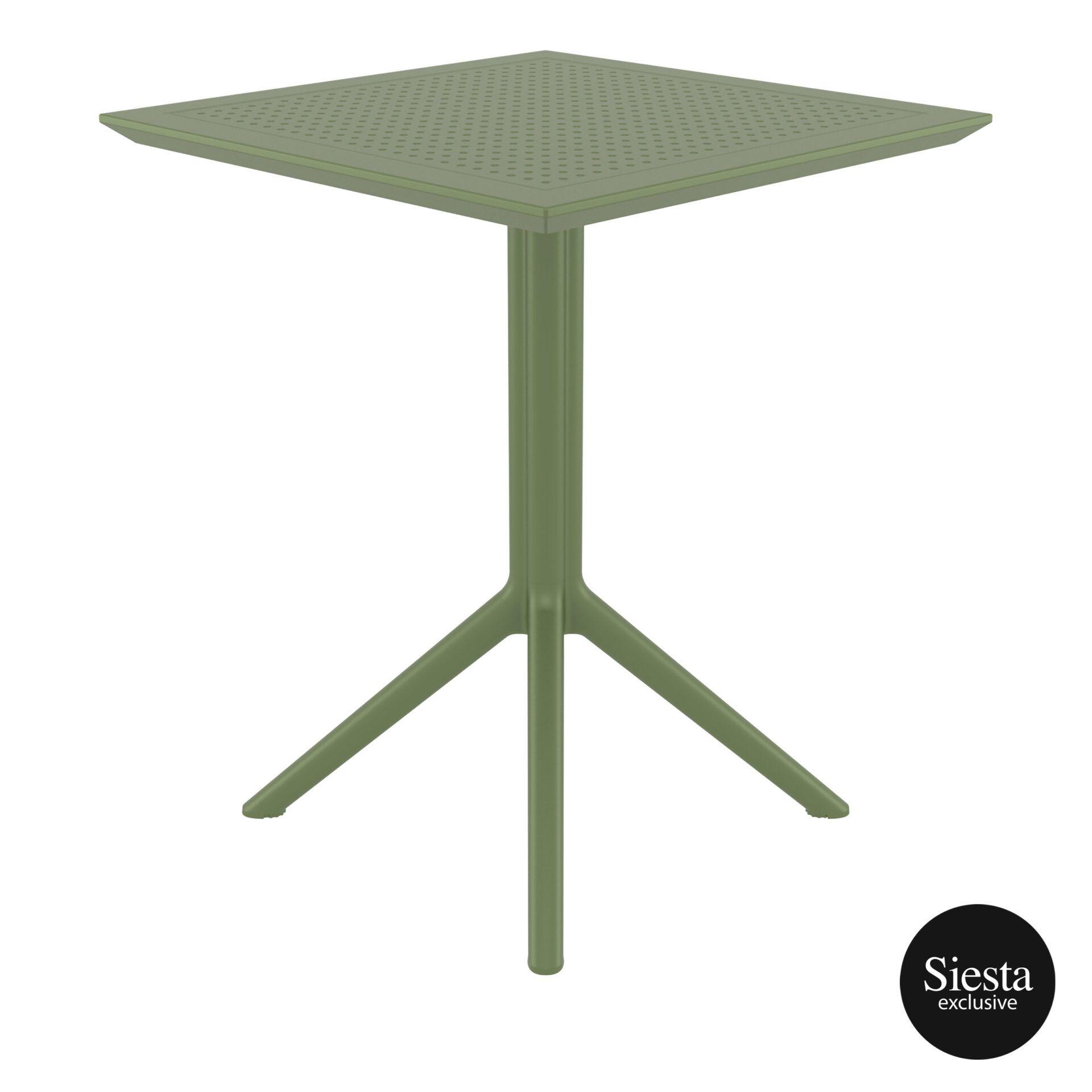 polypropylene outdoor sky folding table 60 olive green side