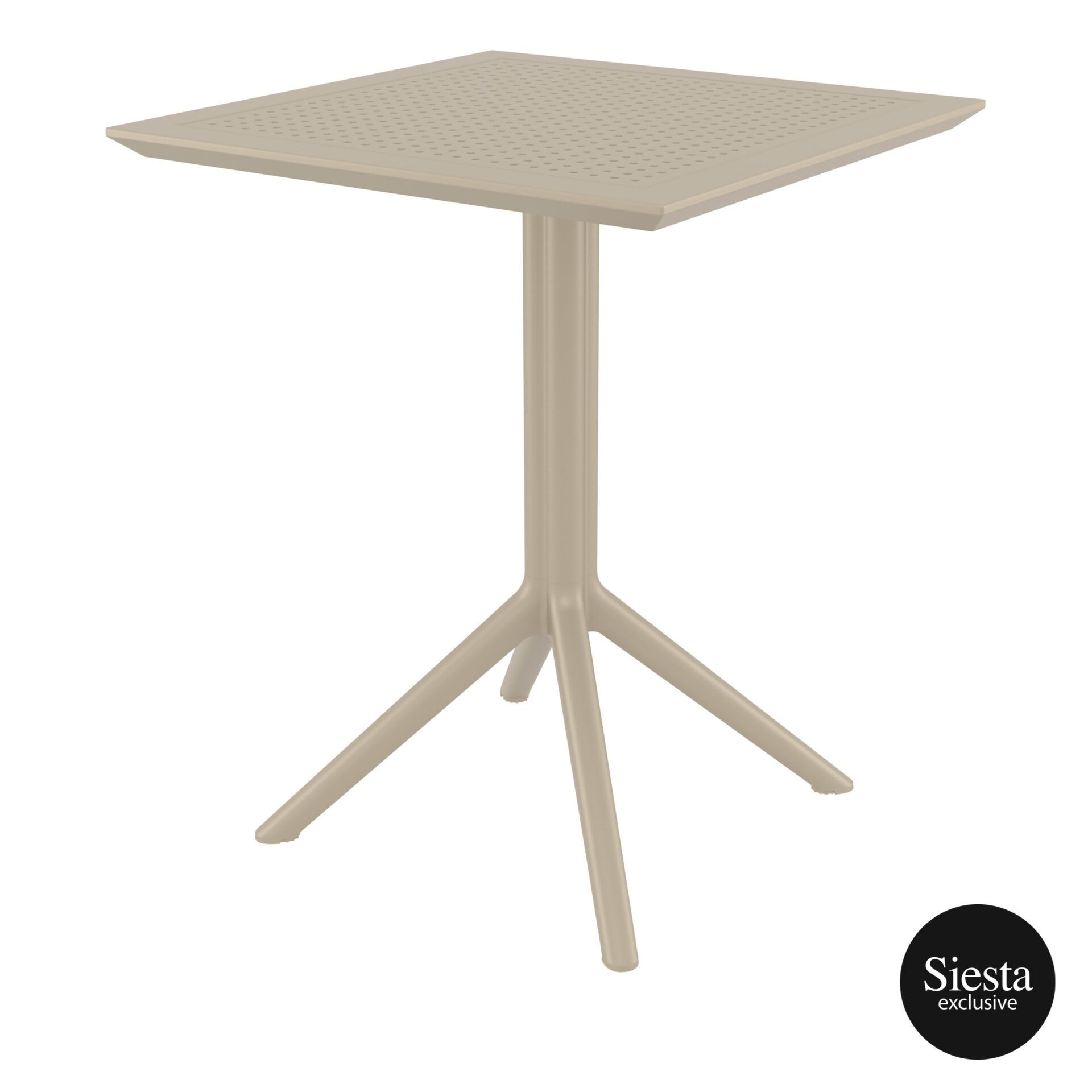 polypropylene outdoor sky folding table 60 taupe front side