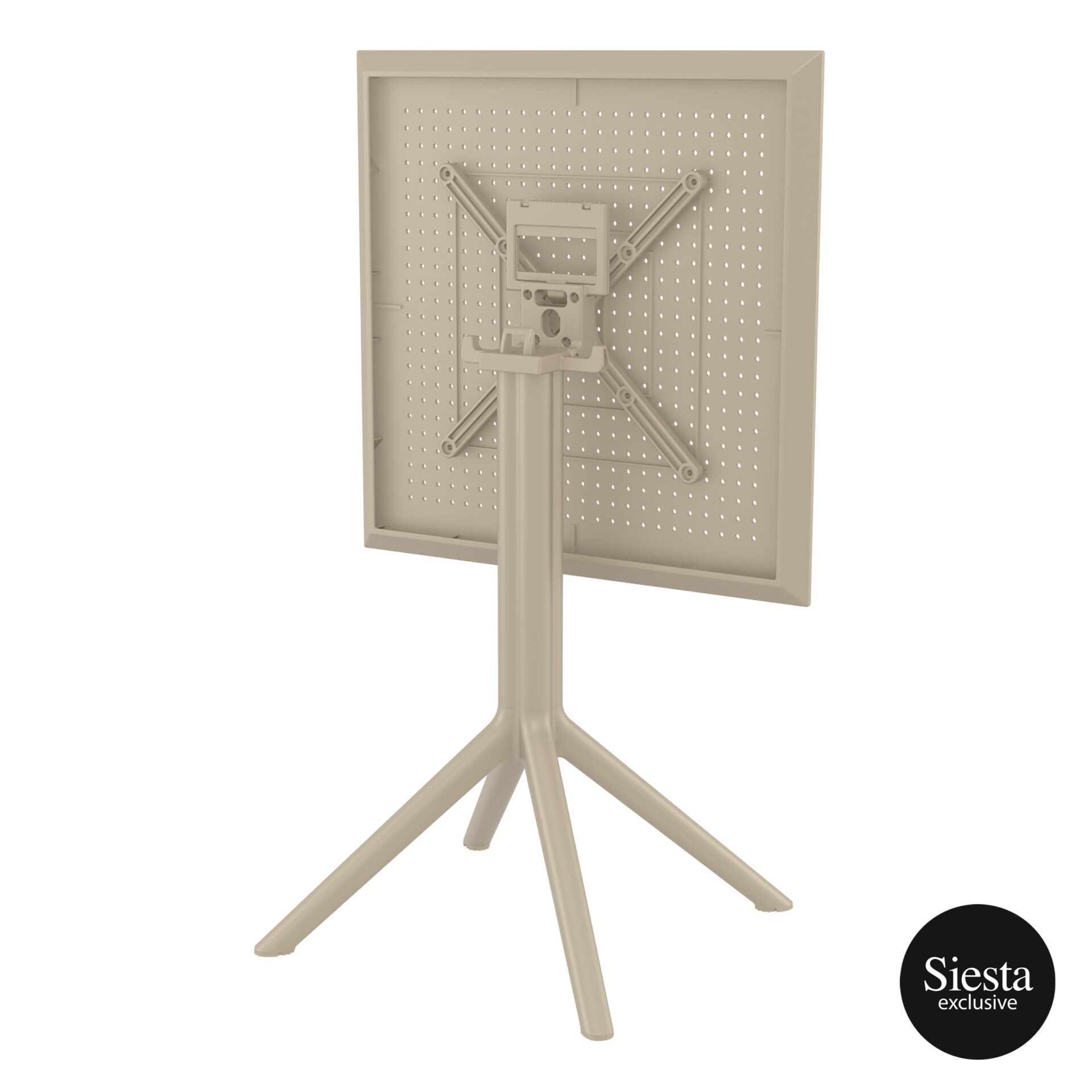polypropylene outdoor sky folding table 60 taupe k back side