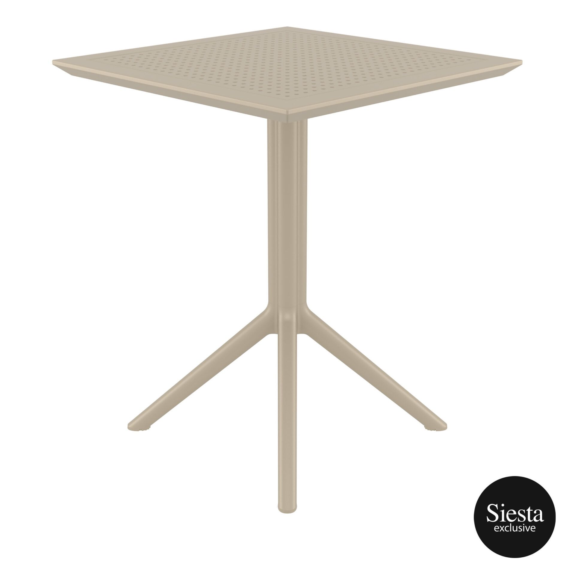polypropylene outdoor sky folding table 60 taupe side