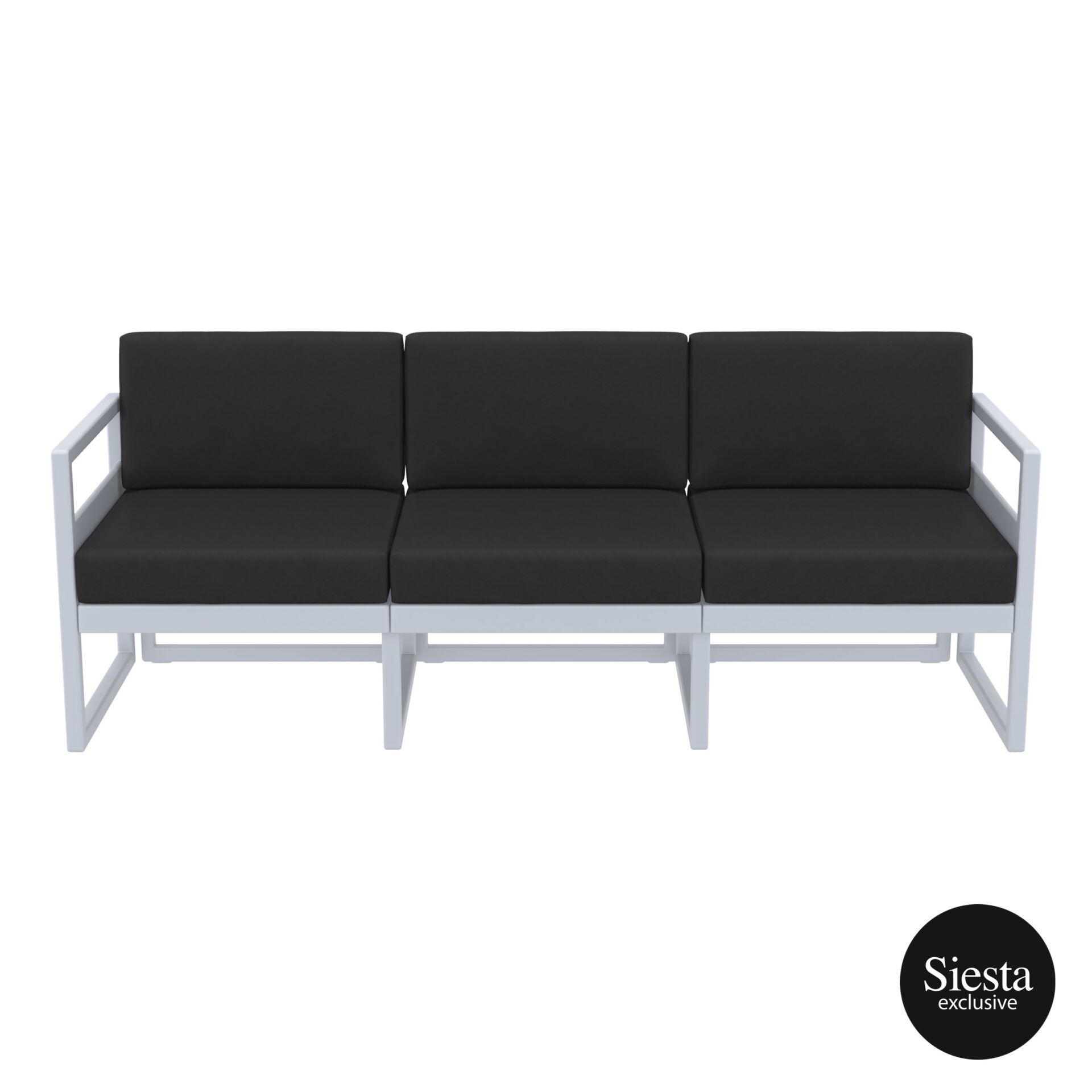 mykonos resort sofa xl silvergrey black front 1