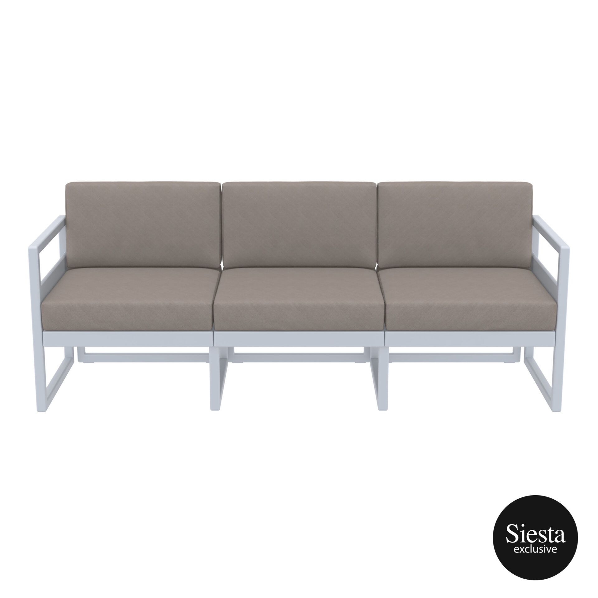 mykonos resort sofa xl silvergrey brown front 1