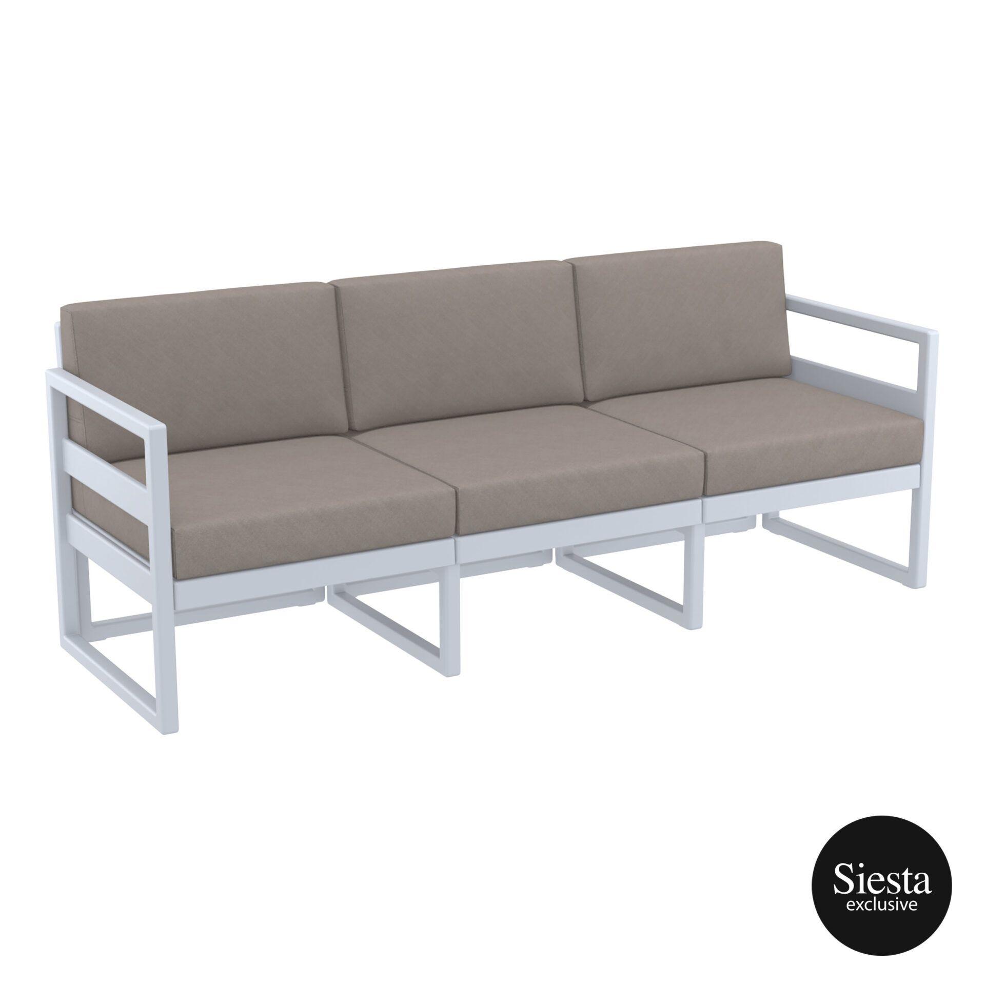 mykonos resort sofa xl silvergrey brown front side 1